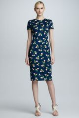 Carolina Herrera Radish Print Short Sleeve Sheath Dress - Lyst