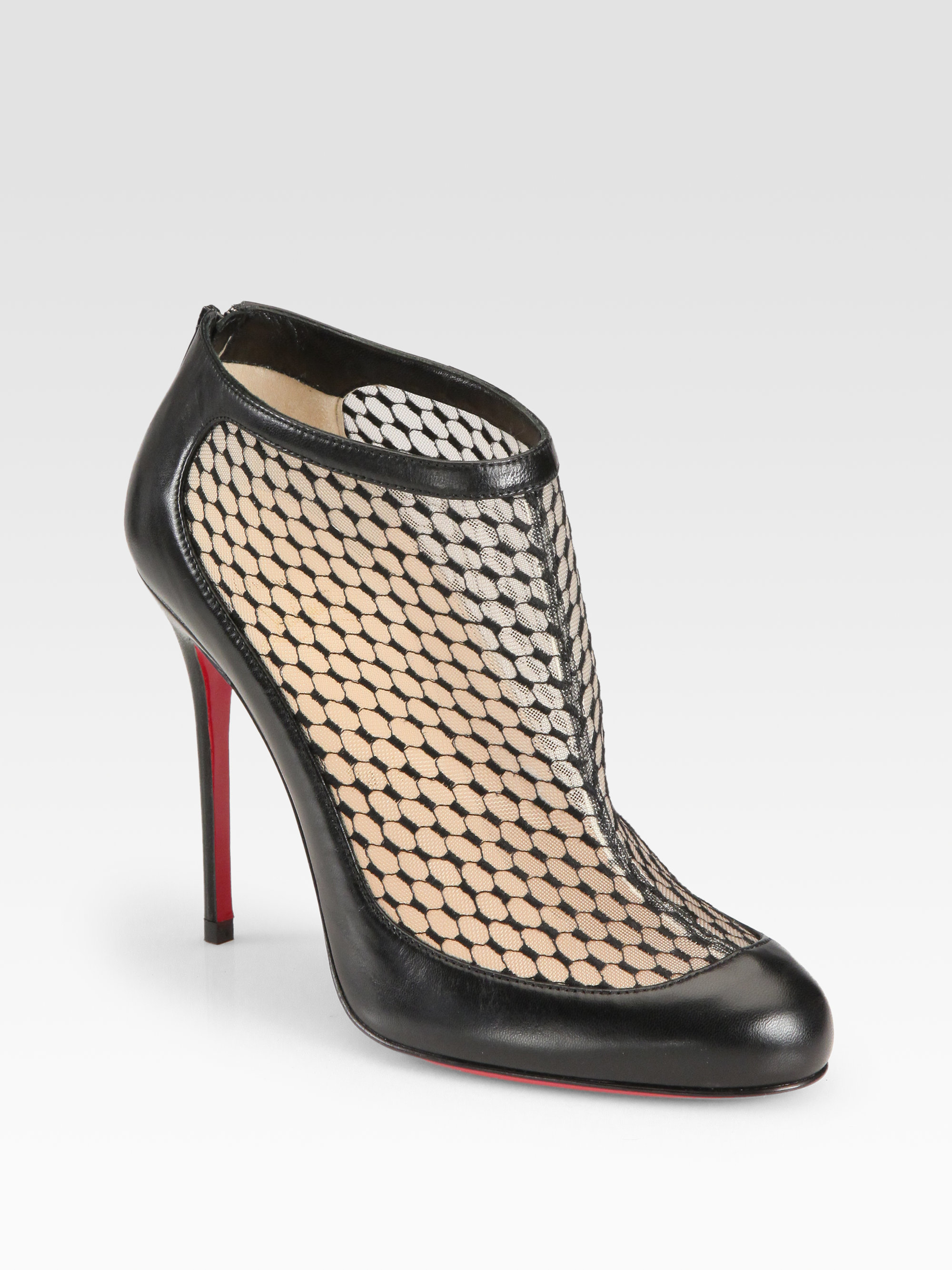 da665428d6a7 Lyst - Christian Louboutin Anna May Lace Leather Ankle Boots in Black