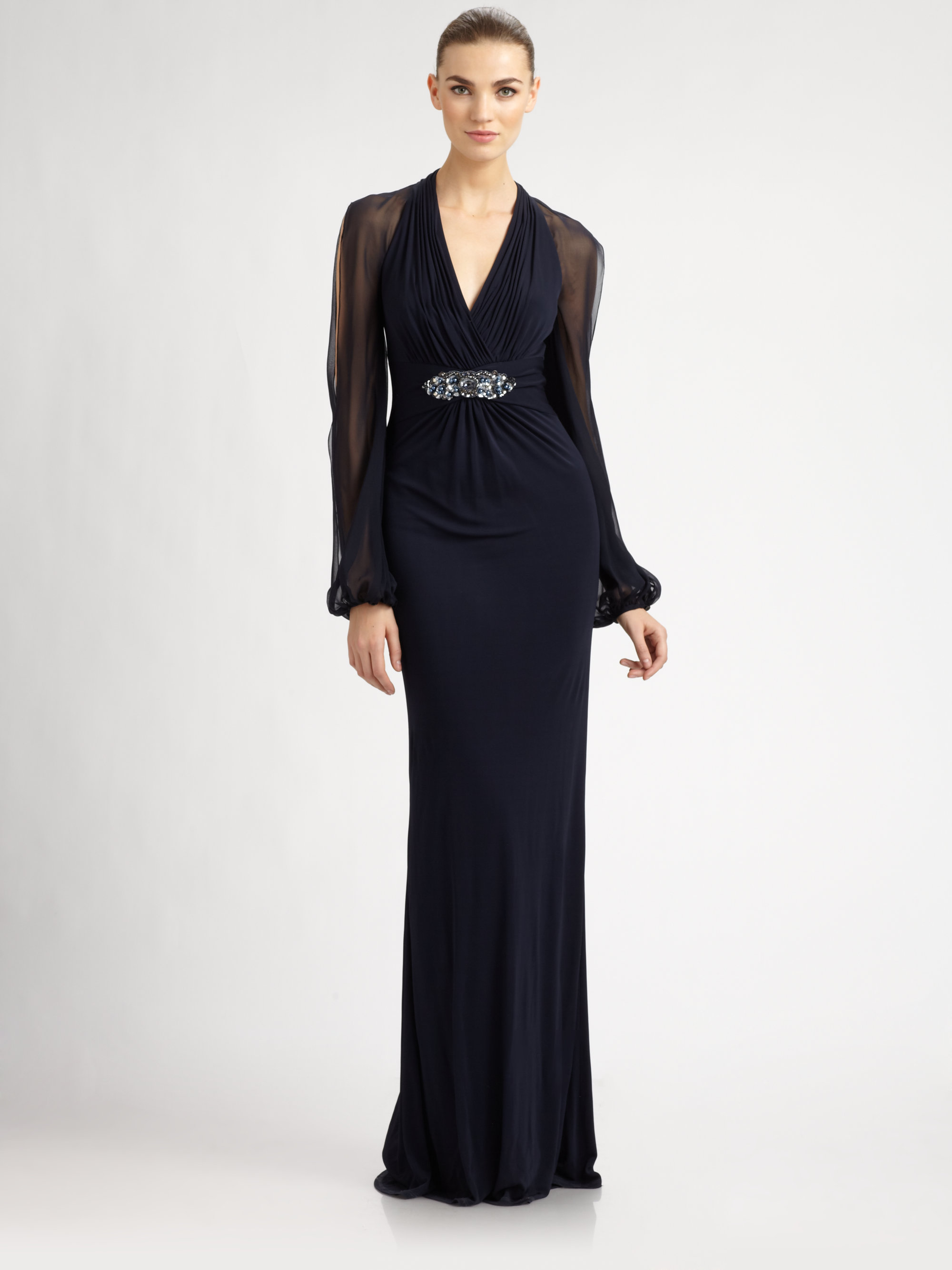 Lyst - David Meister Longsleeve Gown in Blue