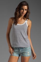 Demylee Irving Striped Tank in Whitenavy - Lyst
