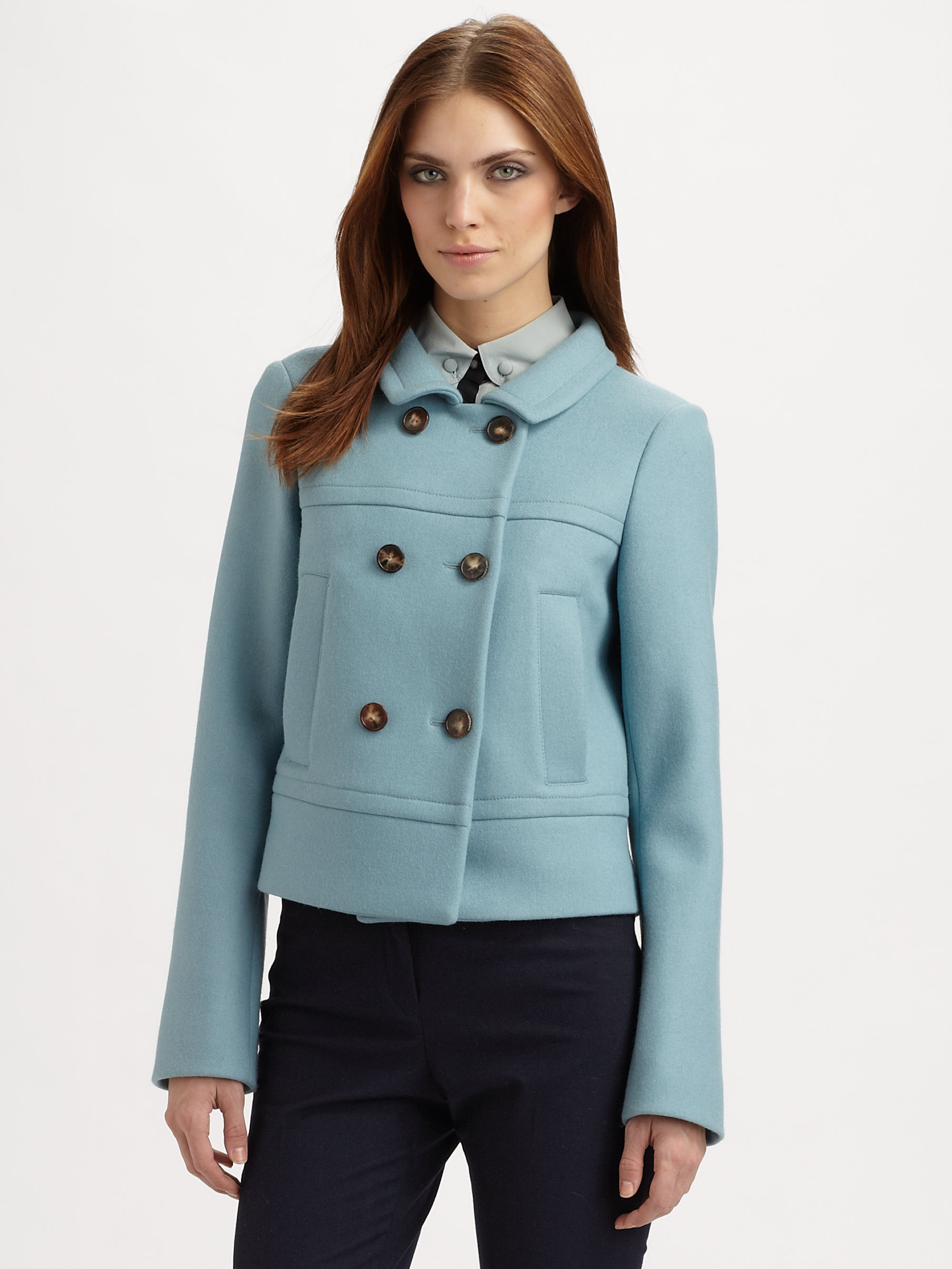 Derek lam Doublebreasted Wool Short Coat in Blue | Lyst