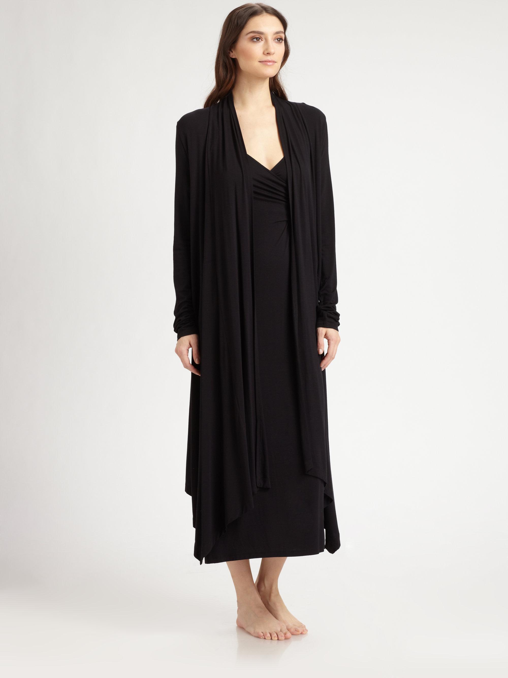 Donna karan new york long jersey wrap in black lyst for Donna karan new york