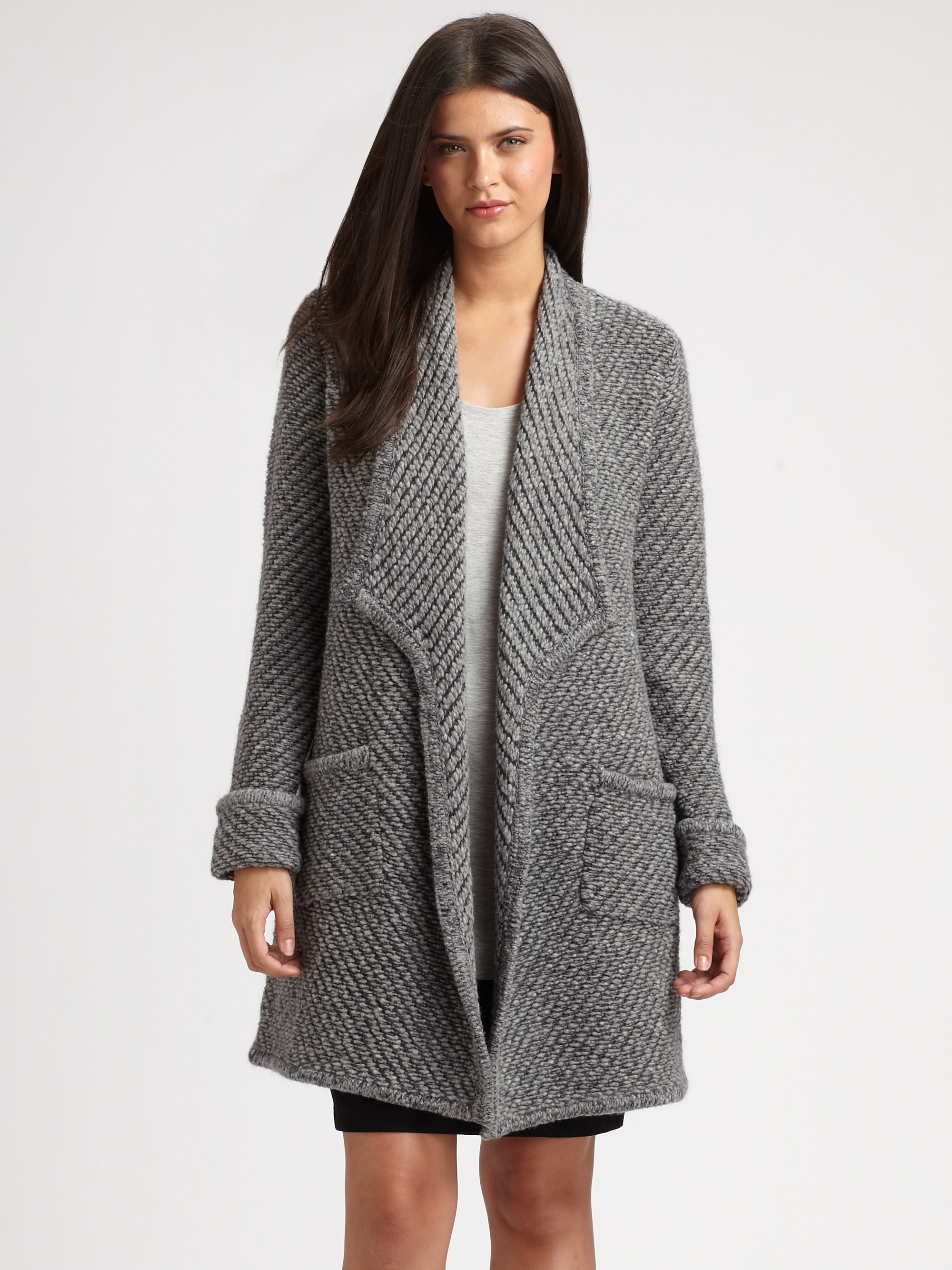 Eileen fisher Textured Sweater Coat in Gray | Lyst
