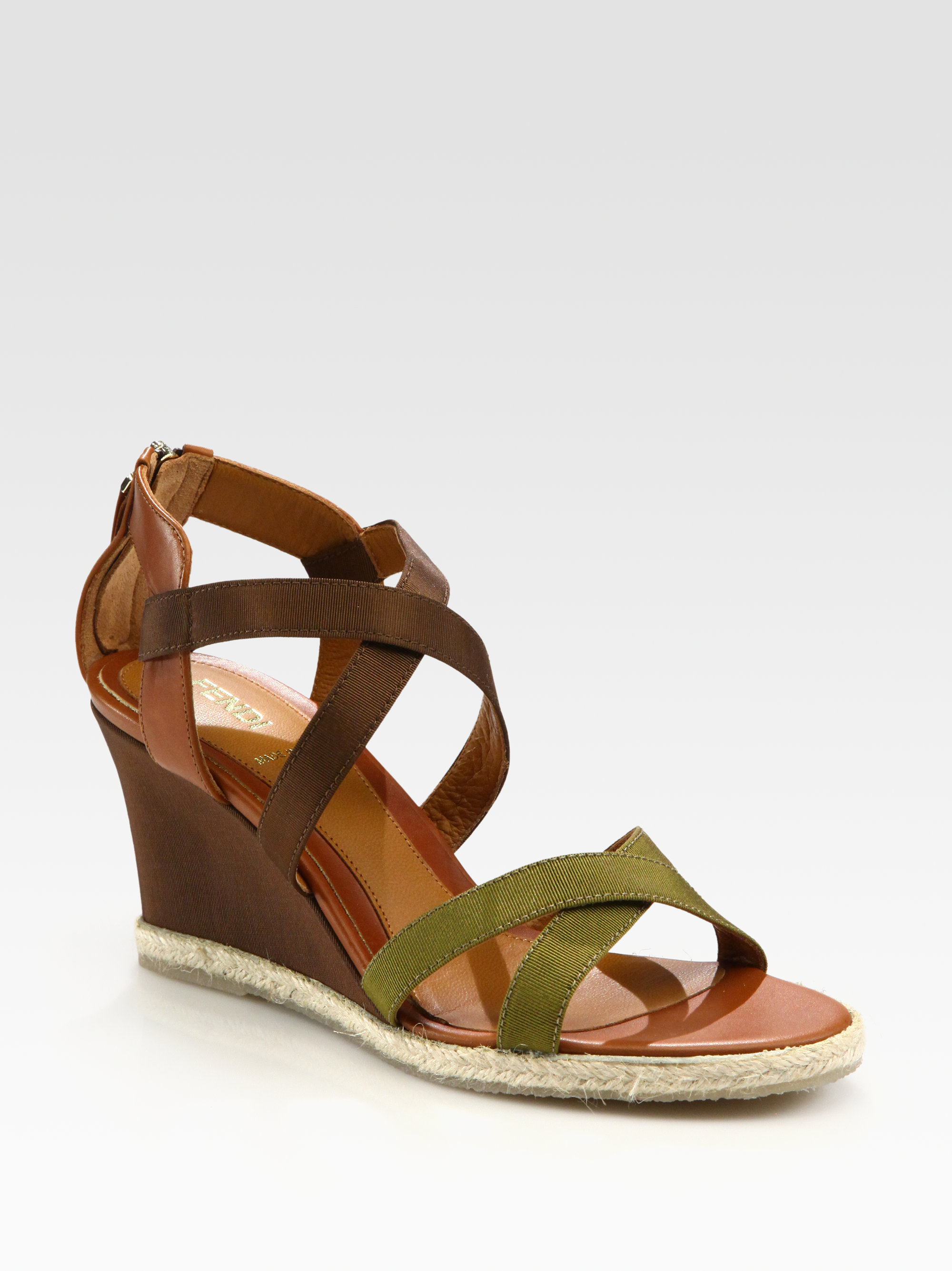 a909a0bbab51 Lyst - Fendi Leather and Grosgrain Ribbon Wedge Sandals in Green