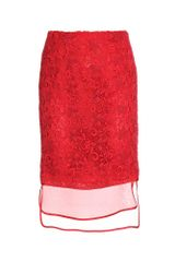 Giambattista Valli Lace Overlaid Pencil Skirt - Lyst