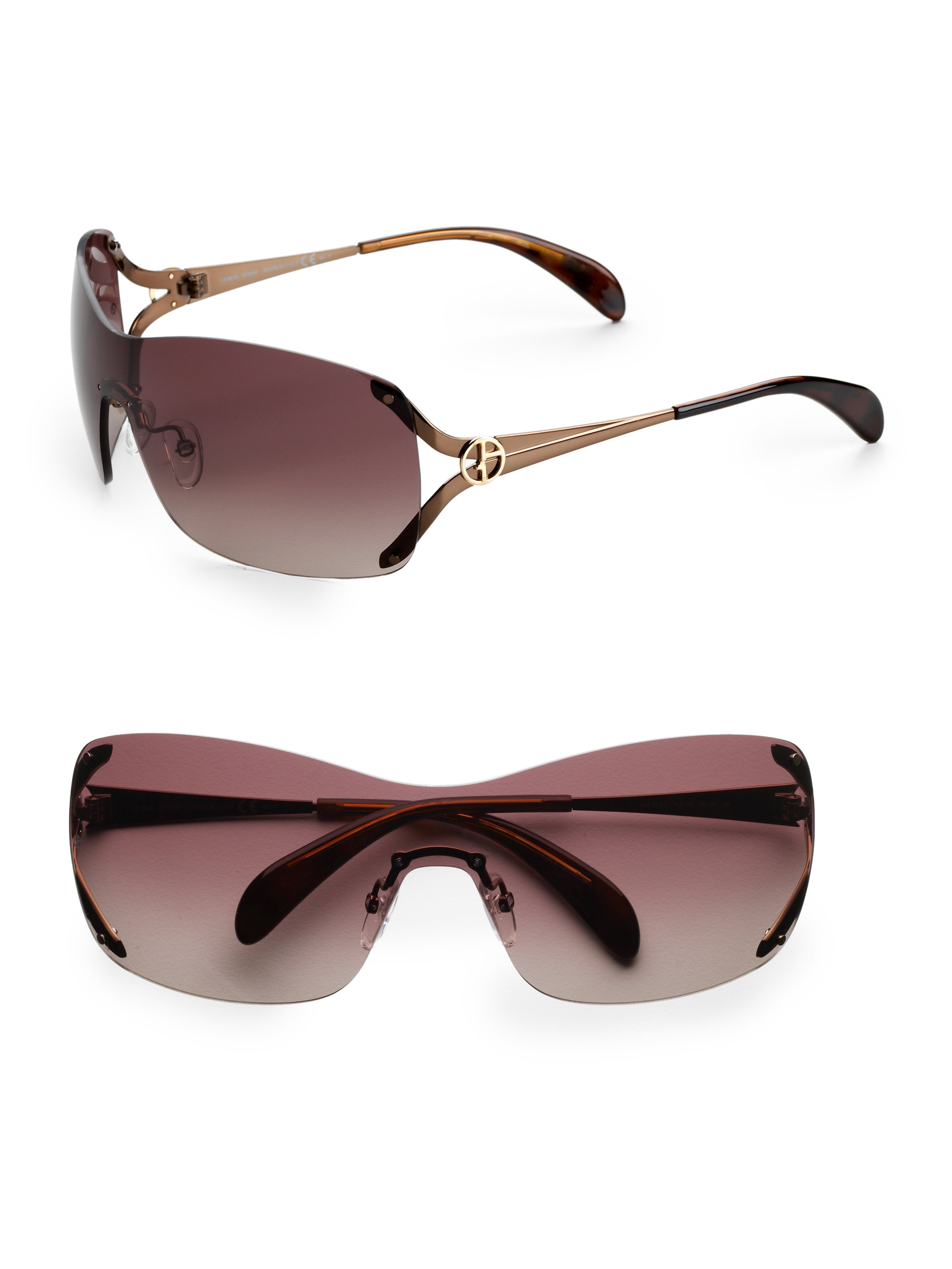 Lyst Giorgio Armani Rimless Shield Sunglasses In Brown