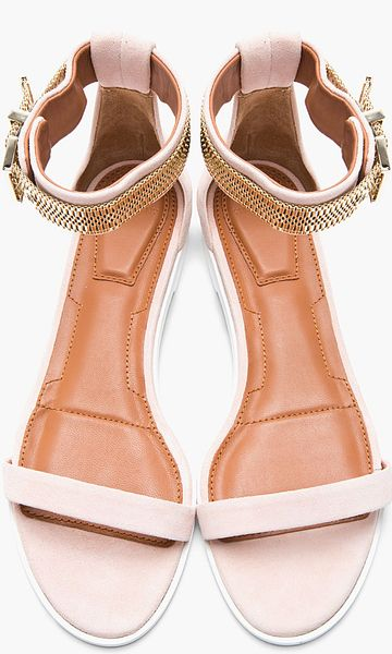 Givenchy Blush Suede Chainembellished Sandals In Pink