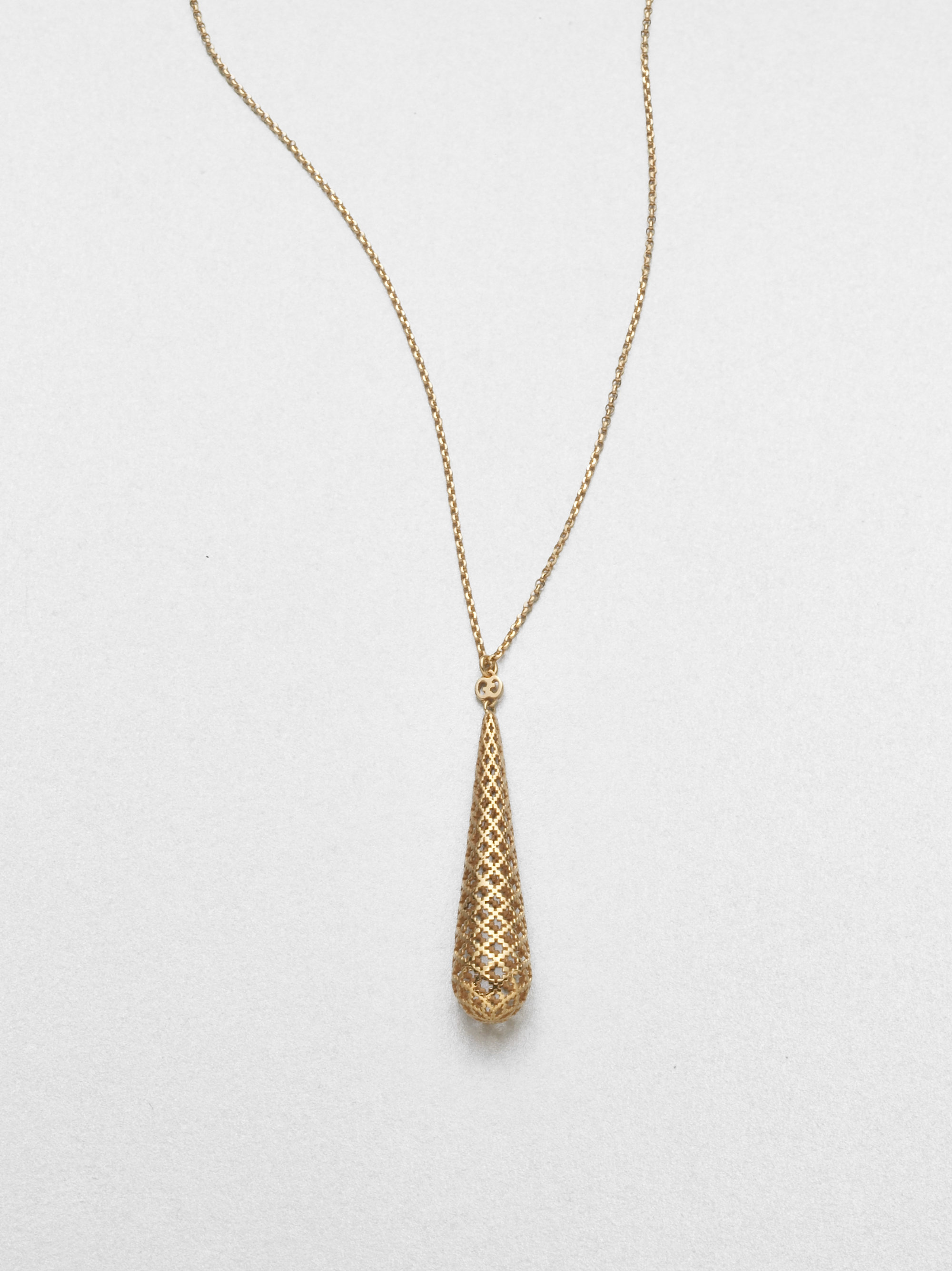 gucci diamantissima 18k yellow gold teardrop pendant