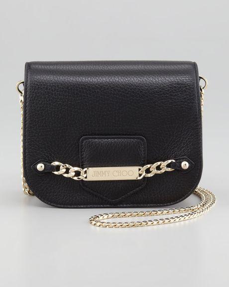 Jimmy Choo Shadow Leather Crossbody Bag Black in Black | Lyst