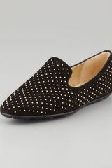 Jimmy Choo Wheel Studded Suede Smoking Slipper - Lyst