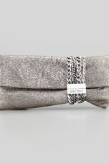 Jimmy Choo Chandra Metallic Chain Clutch Bag - Lyst