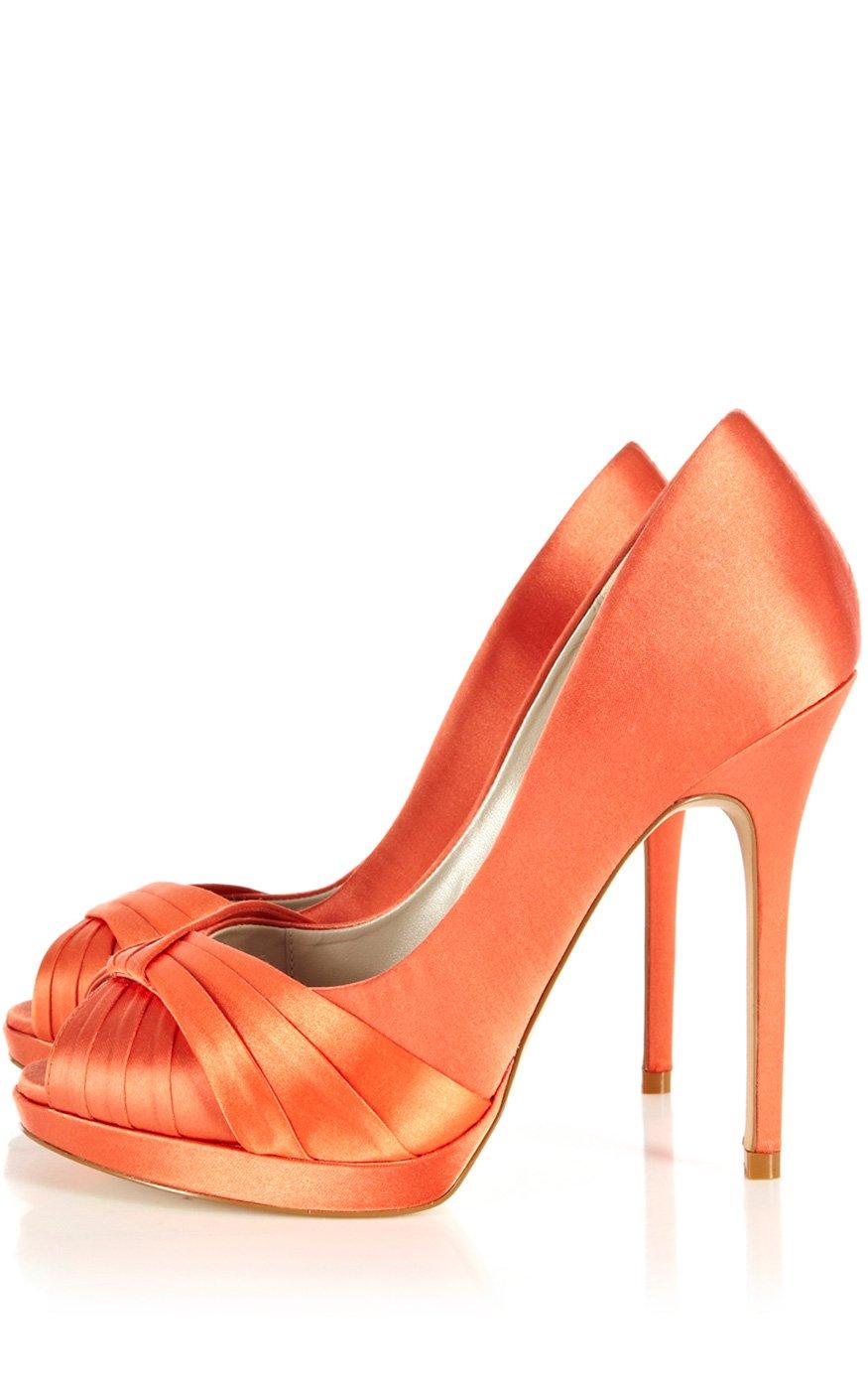 7f893c34ead6 Lyst - Karen Millen Pleated Satin Peep in Orange