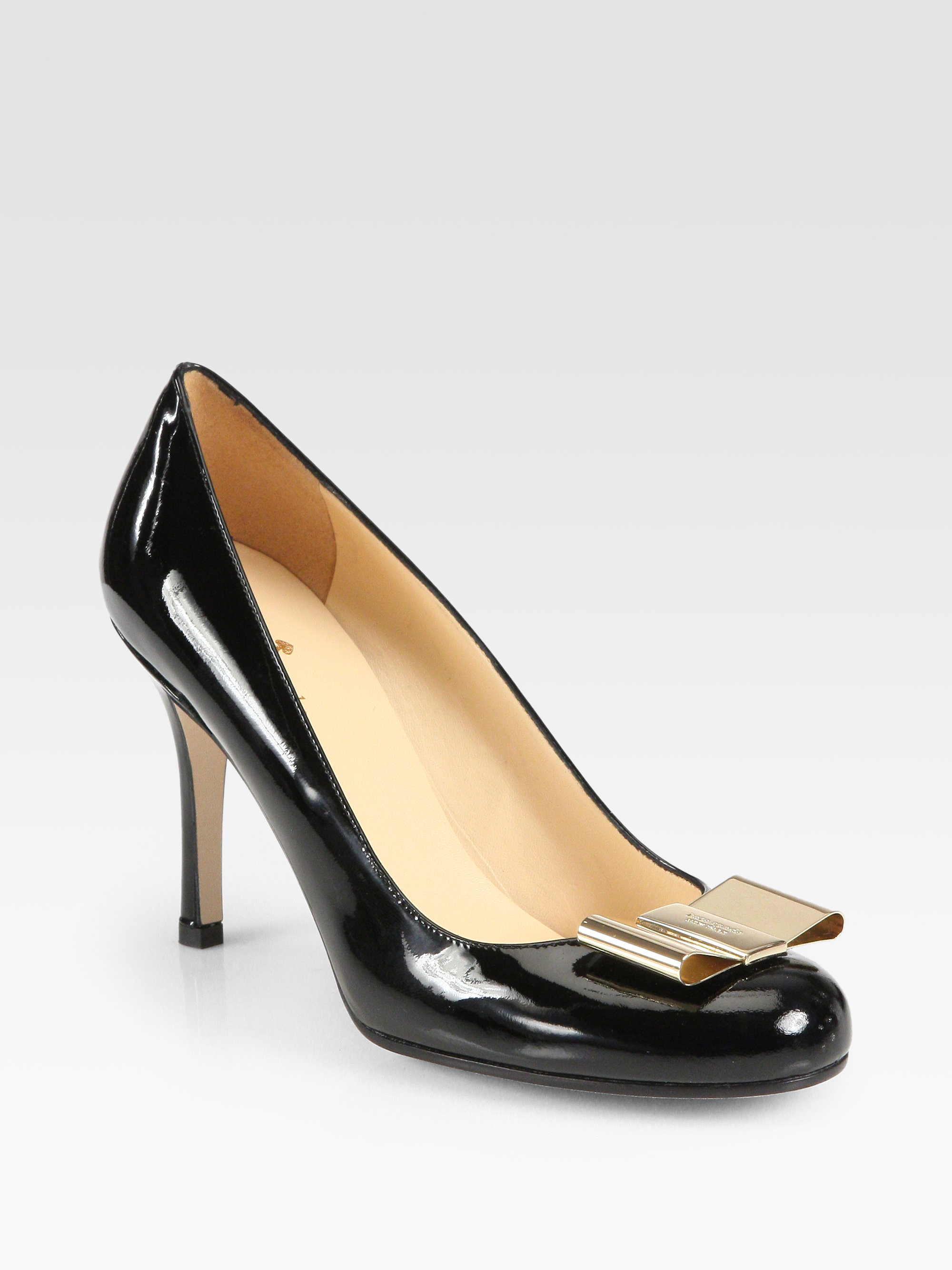 be640dc4fe90 Lyst - Kate Spade Karolina Bow Patent Leather Pumps in Black