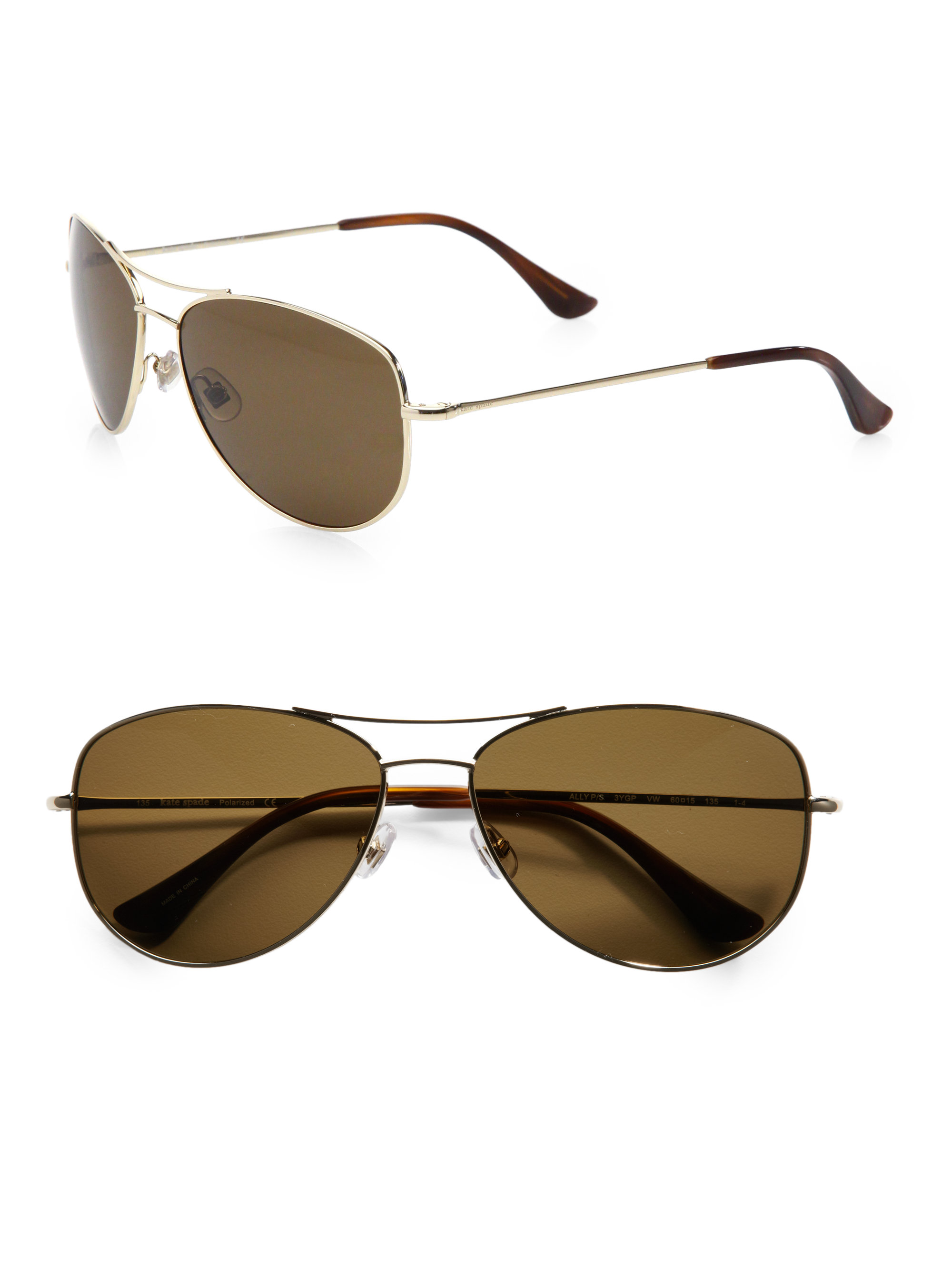 911a1552d7cb Kate Spade Ally Polarized Metal Aviator Sunglasses in Brown - Lyst