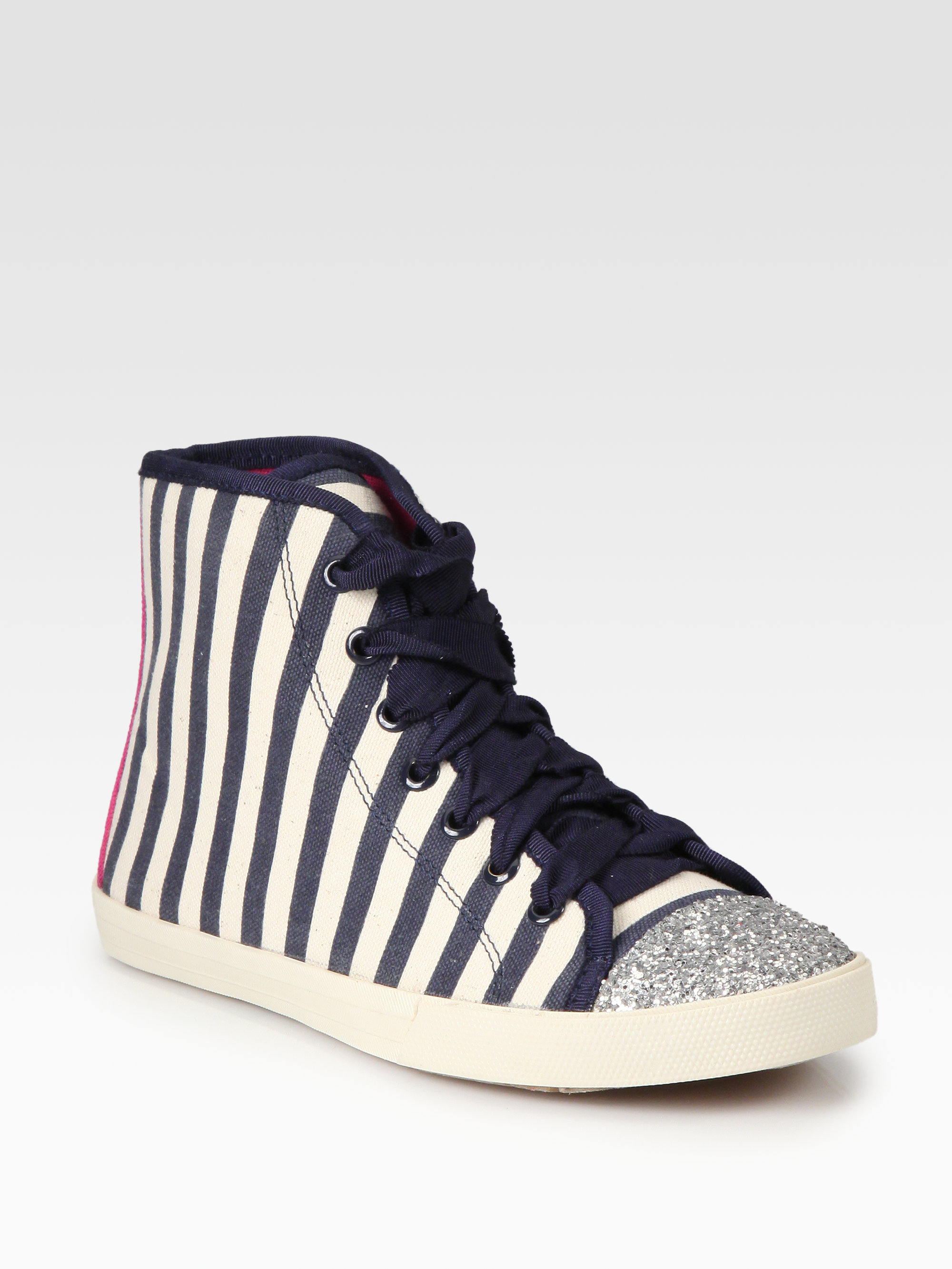 kate spade new york lorna glitter striped canvas lace up