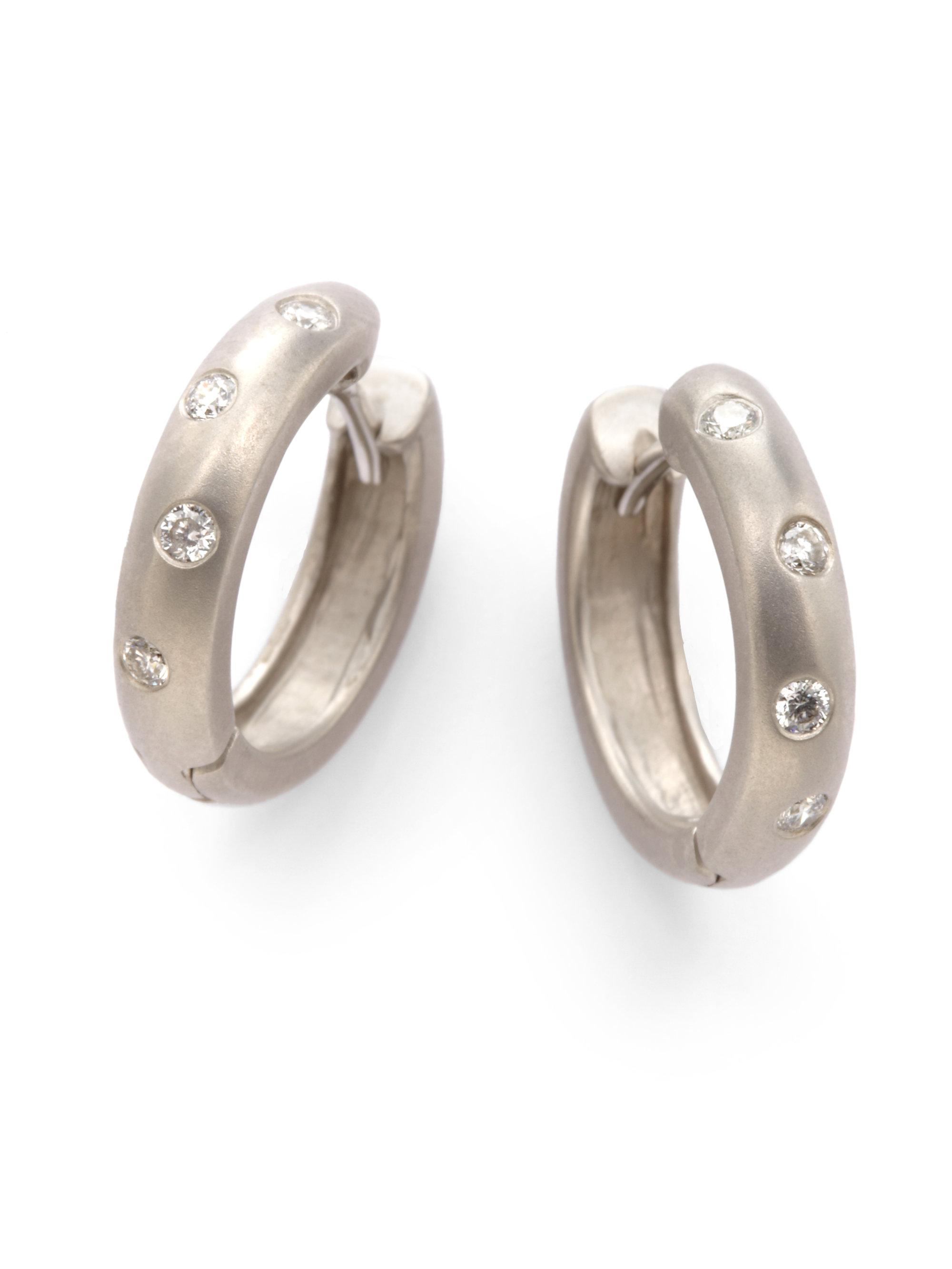 Kc designs Diamond Hoop Earrings in Metallic