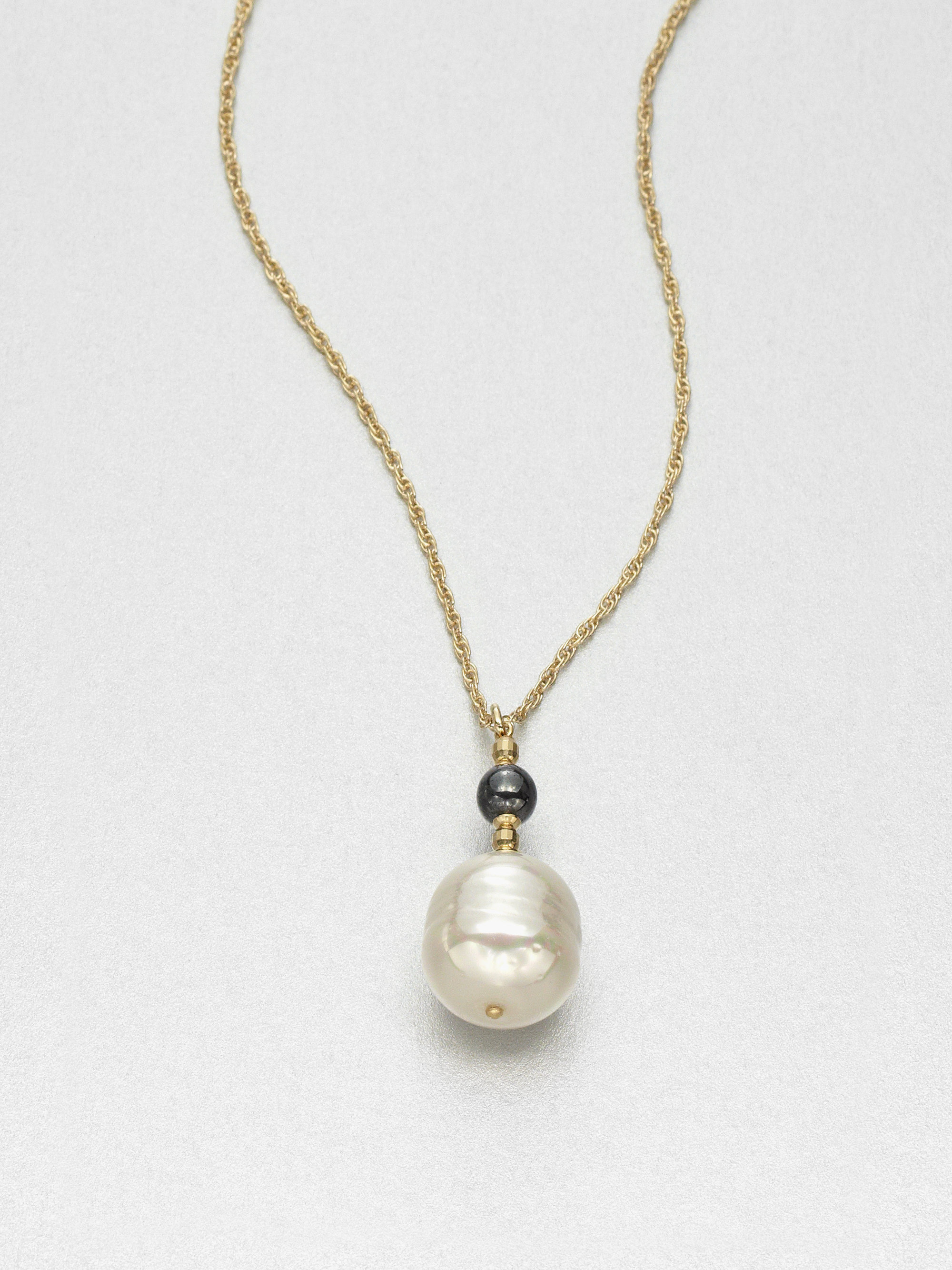 Majorica Chain Necklace with Gray Pearly Charm I0Apa6h