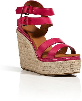 Marc By Marc Jacobs Leather Strappy Wedge Sandals in Cherry - Lyst