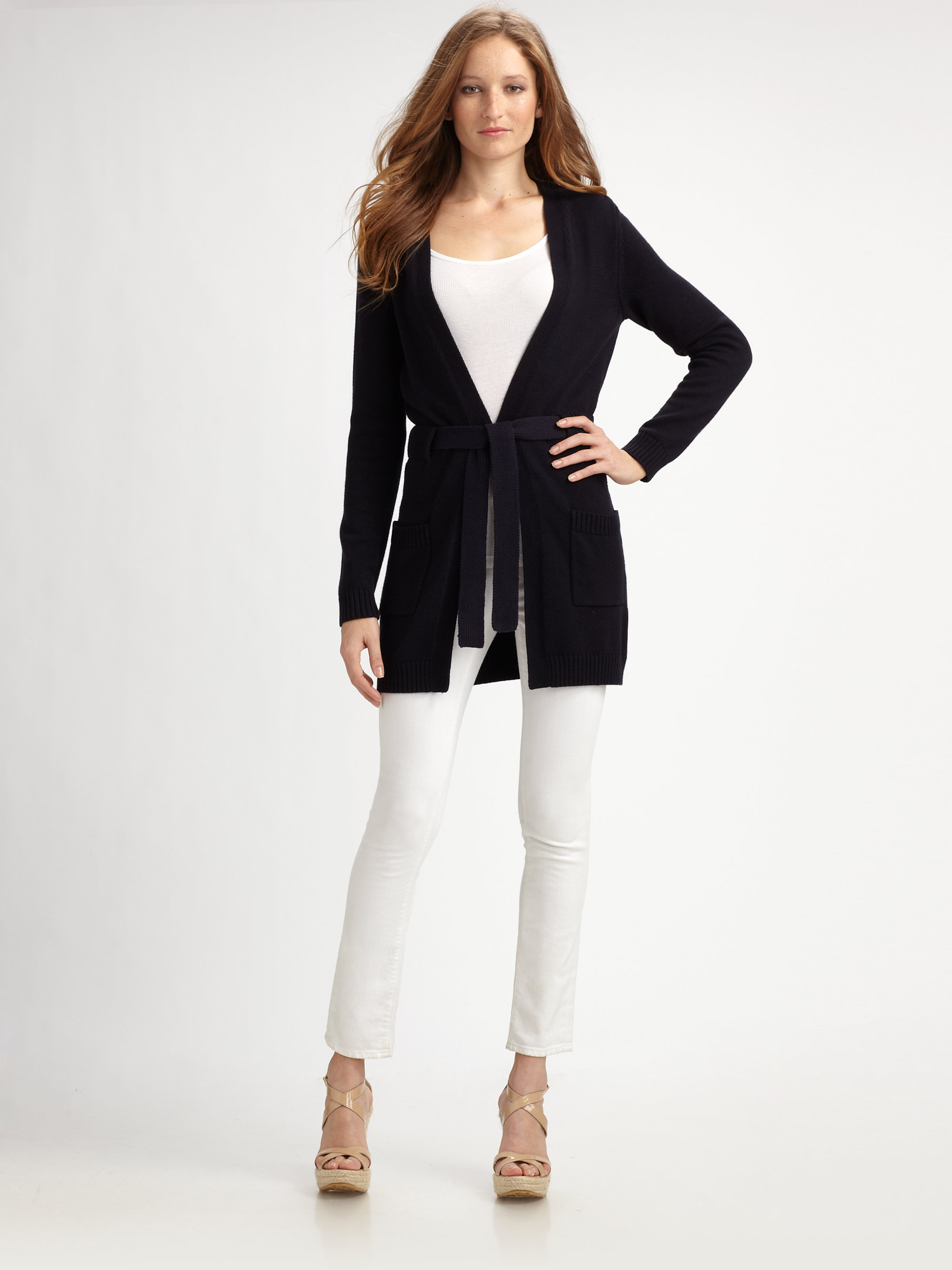 Michael michael kors Belted Cardigan in Blue | Lyst