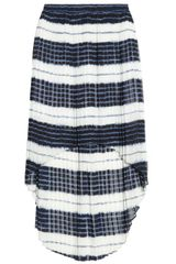 Michael by Michael Kors Pleated Striped Chiffon Skirt - Lyst