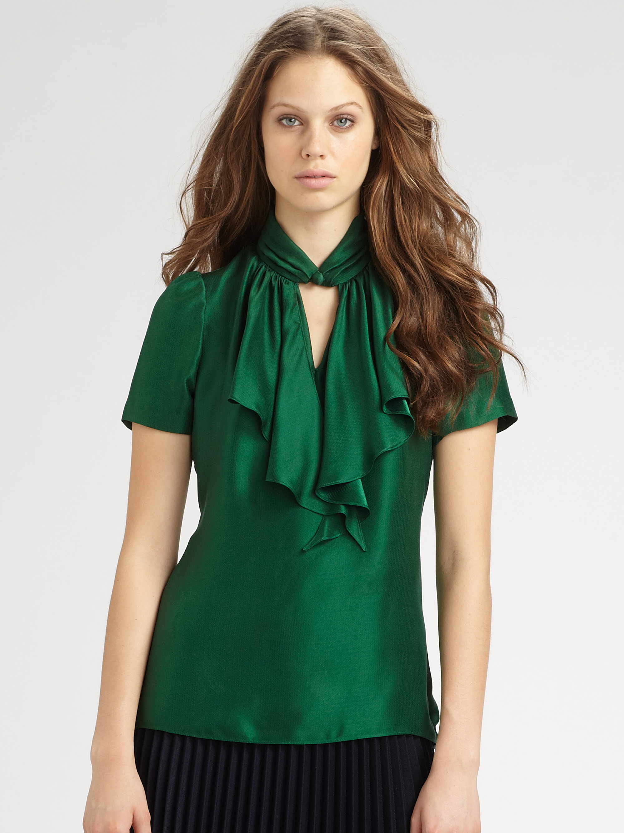 Lyst Milly Ruffled Silk Blouse In Green