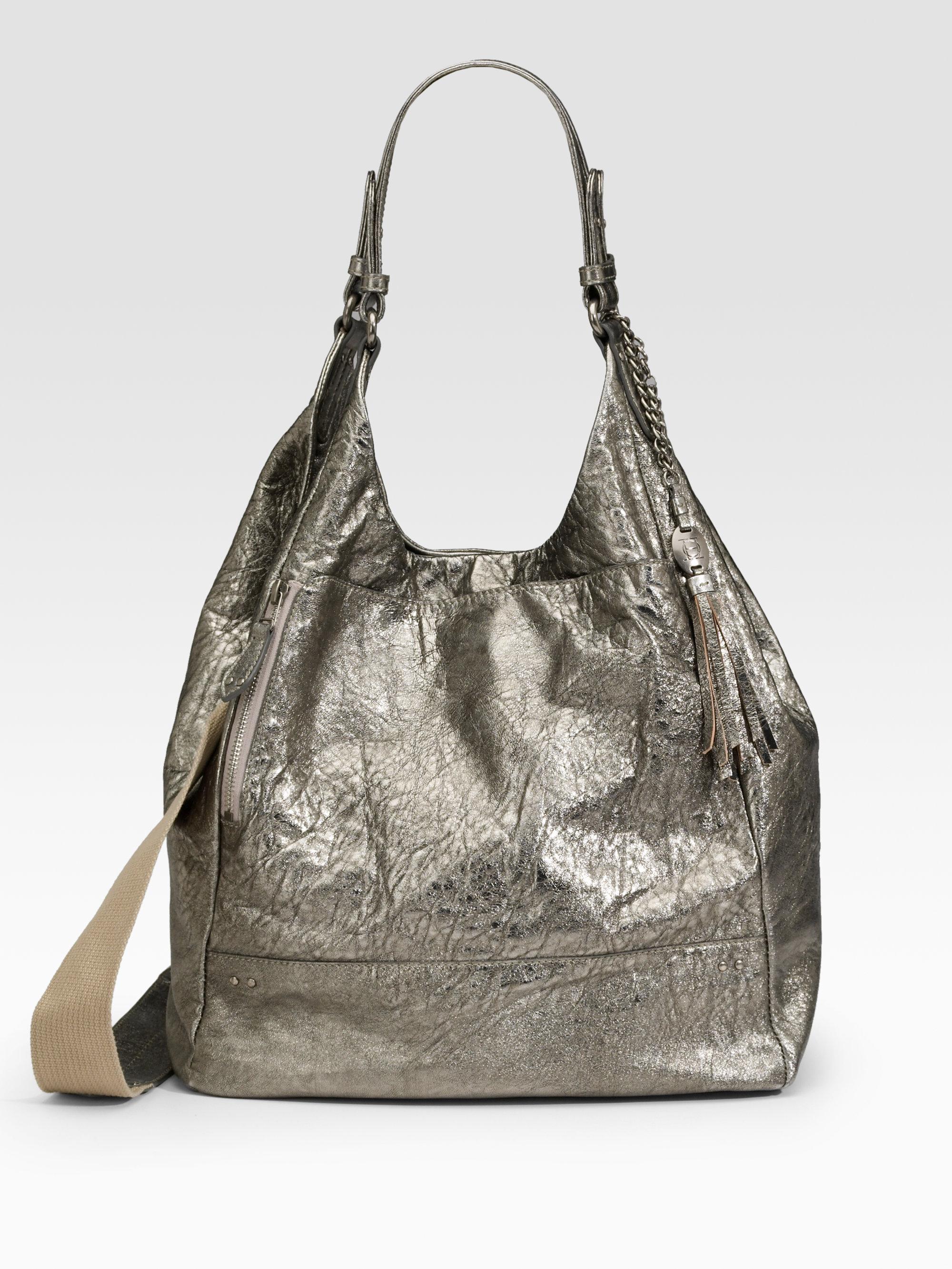 Olivia Harris Metallic Lambskin Shoulder Bag In Silver