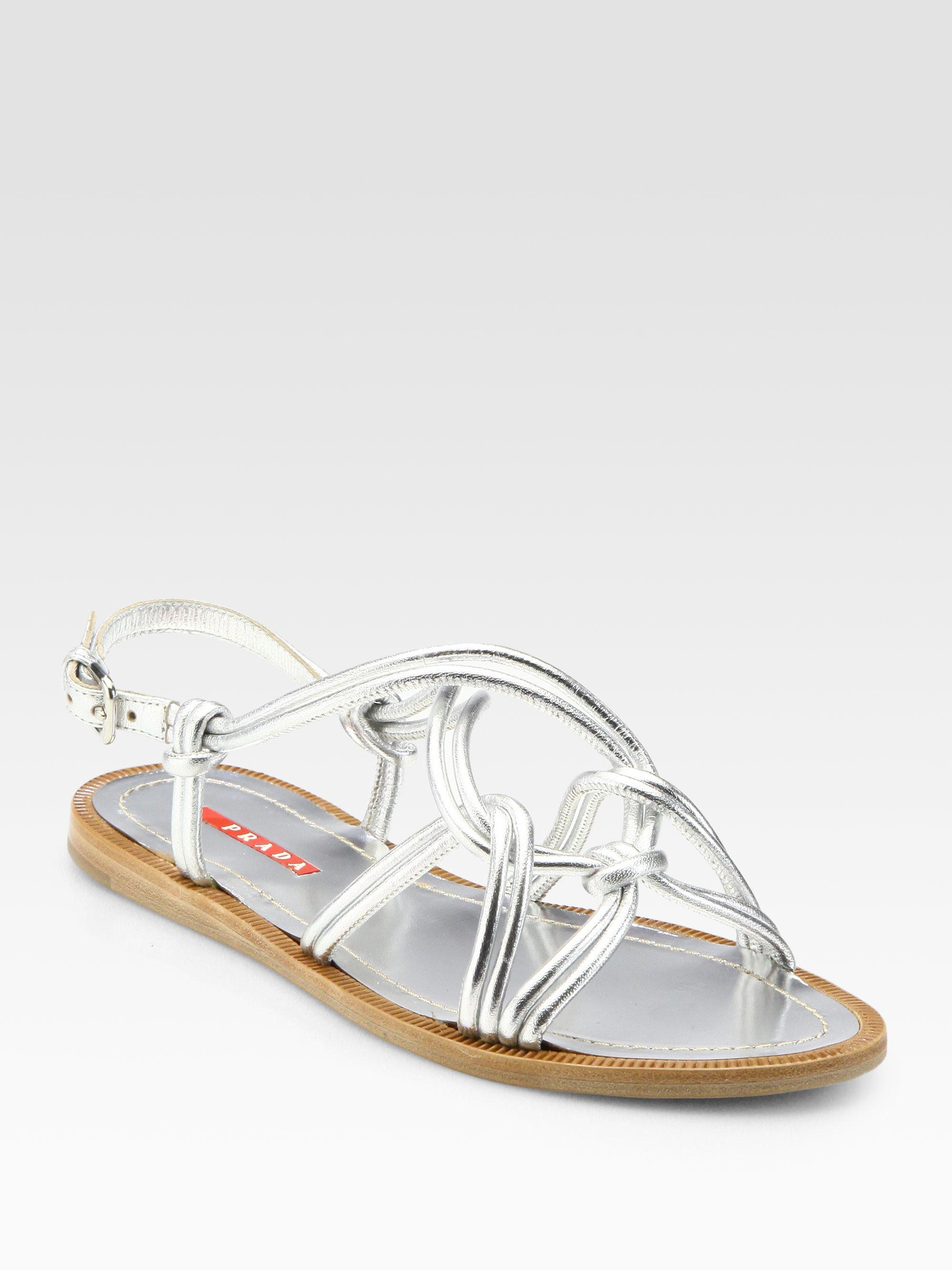 4d52b015d84 Lyst - Prada Metallic Leather Tubular Rope Sandals in Metallic