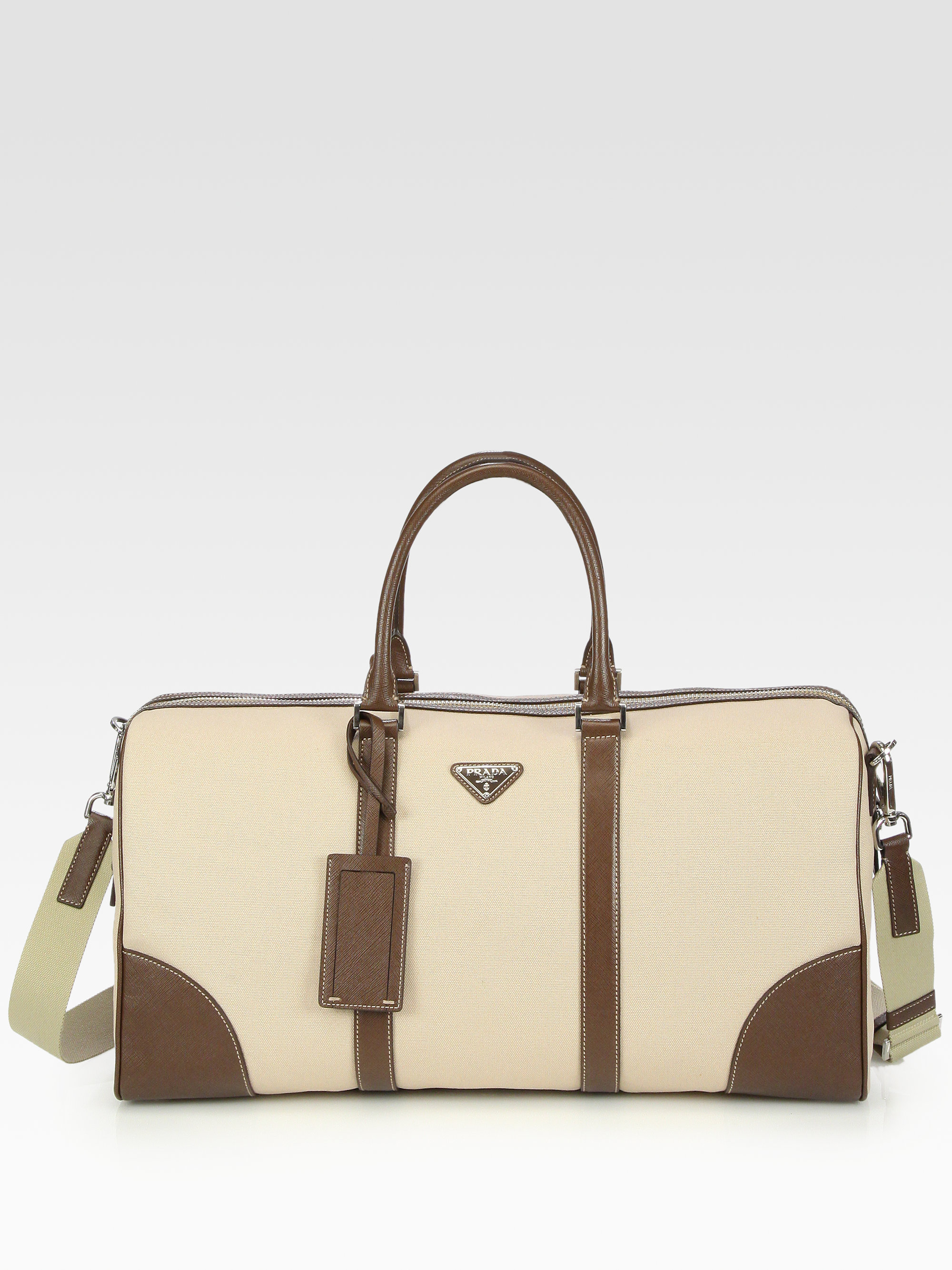 ... low cost lyst prada canvas and leather tote bag in natural for men  49f3a cdf77 c6289fe4810b5