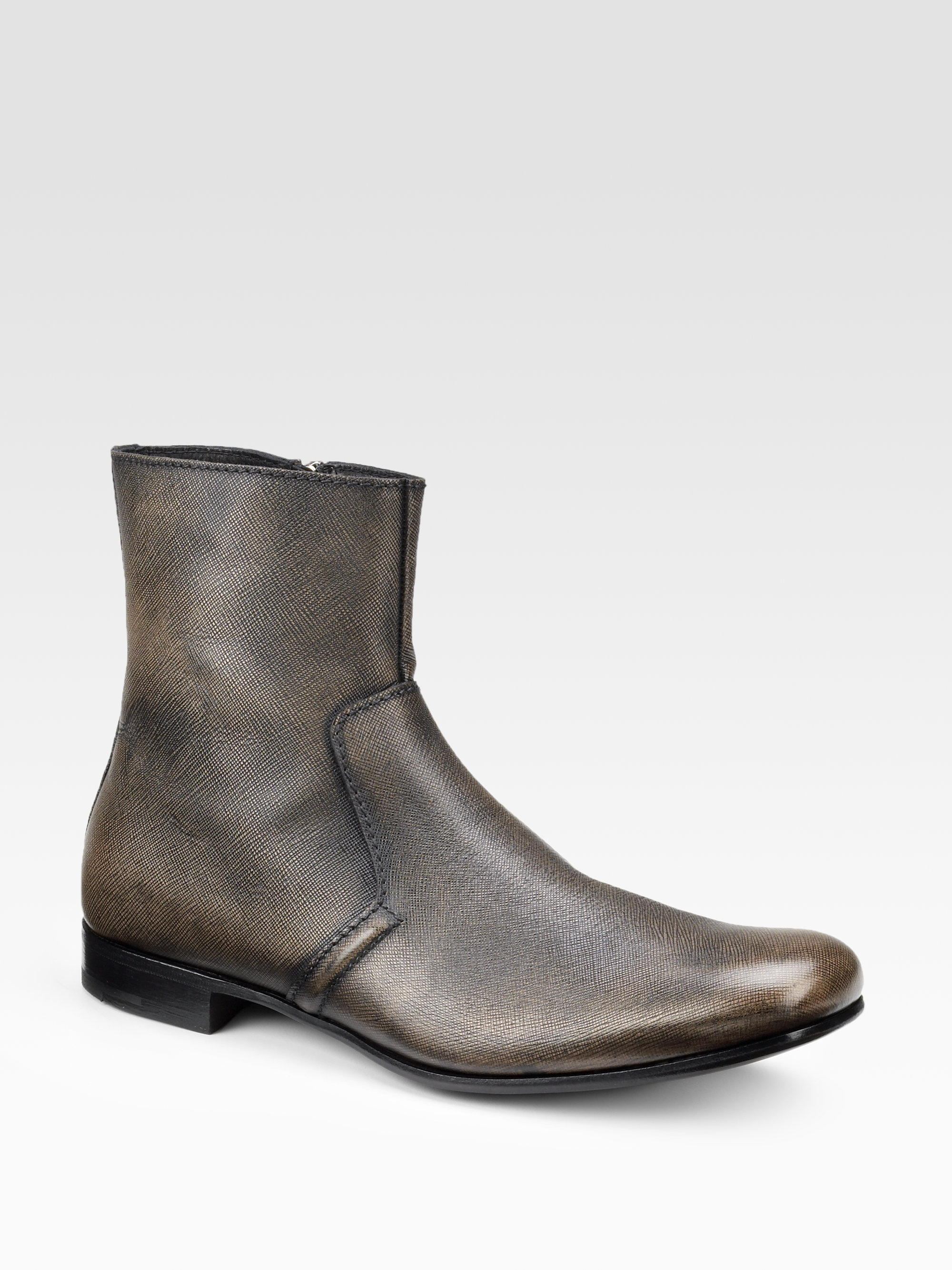 prada ankle boots in brown for black bronze lyst