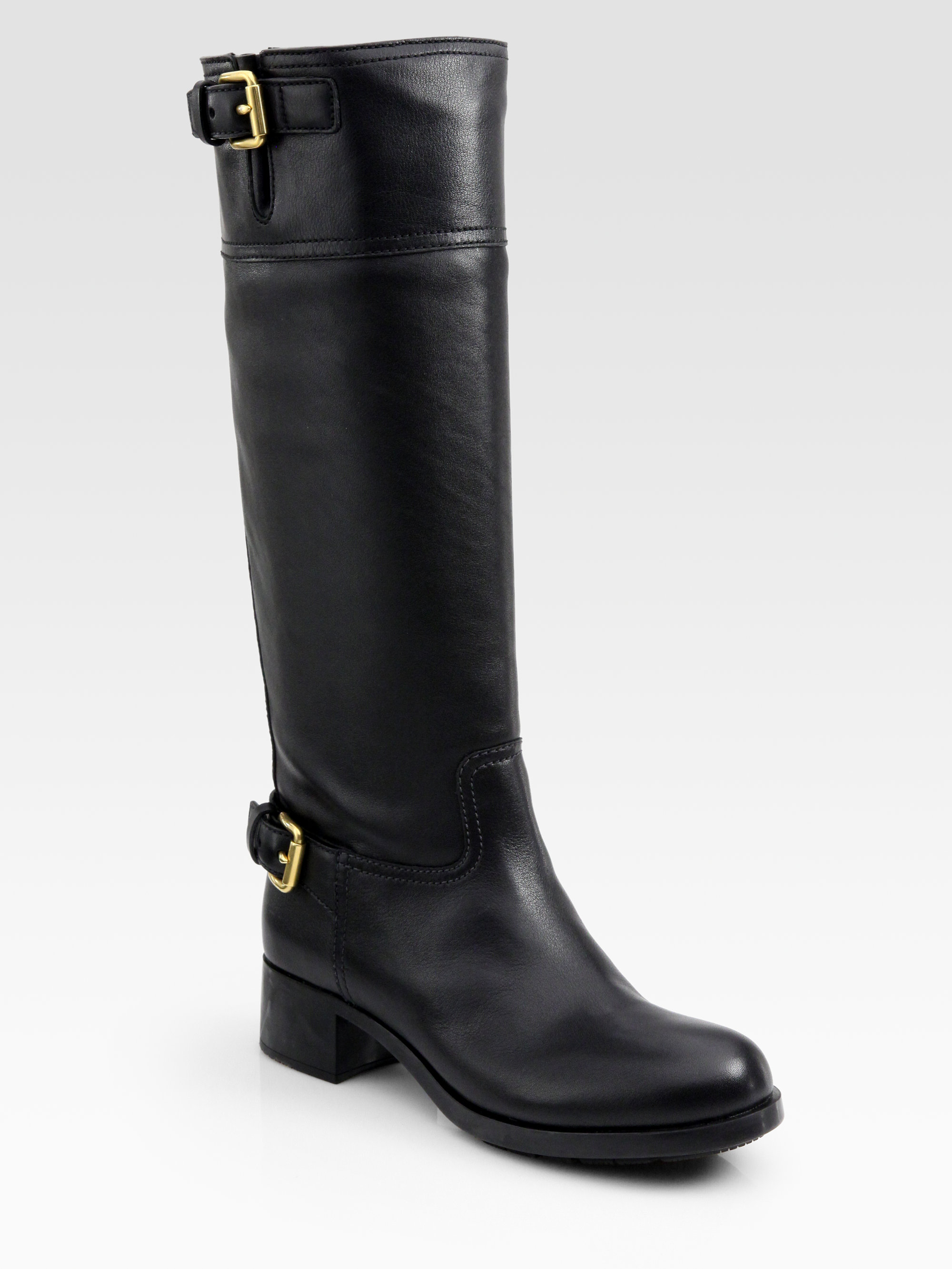 Prada Lug Sole Motorcycle Boots In Black Lyst