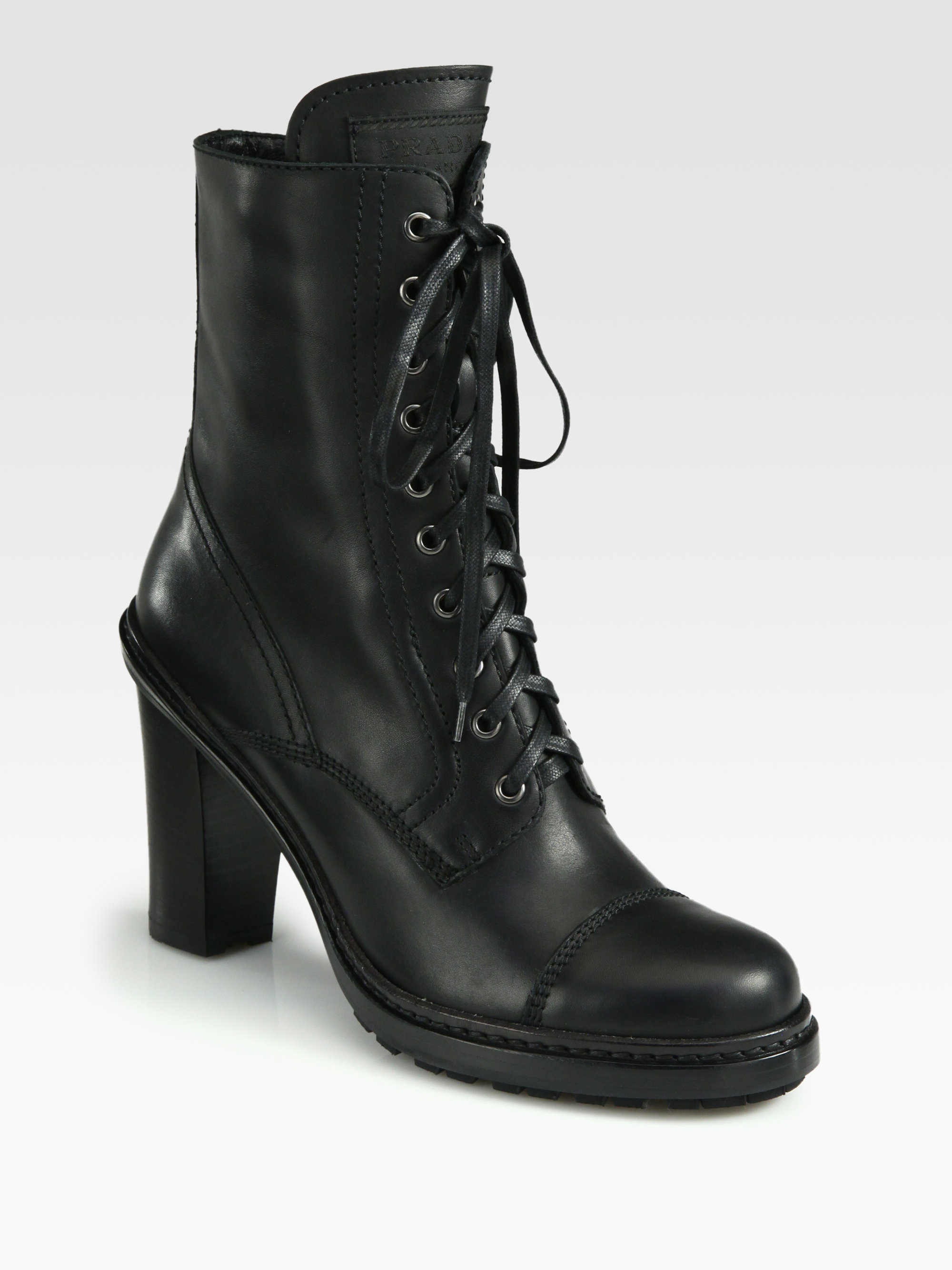 prada leather laceup ankle boots in black lyst