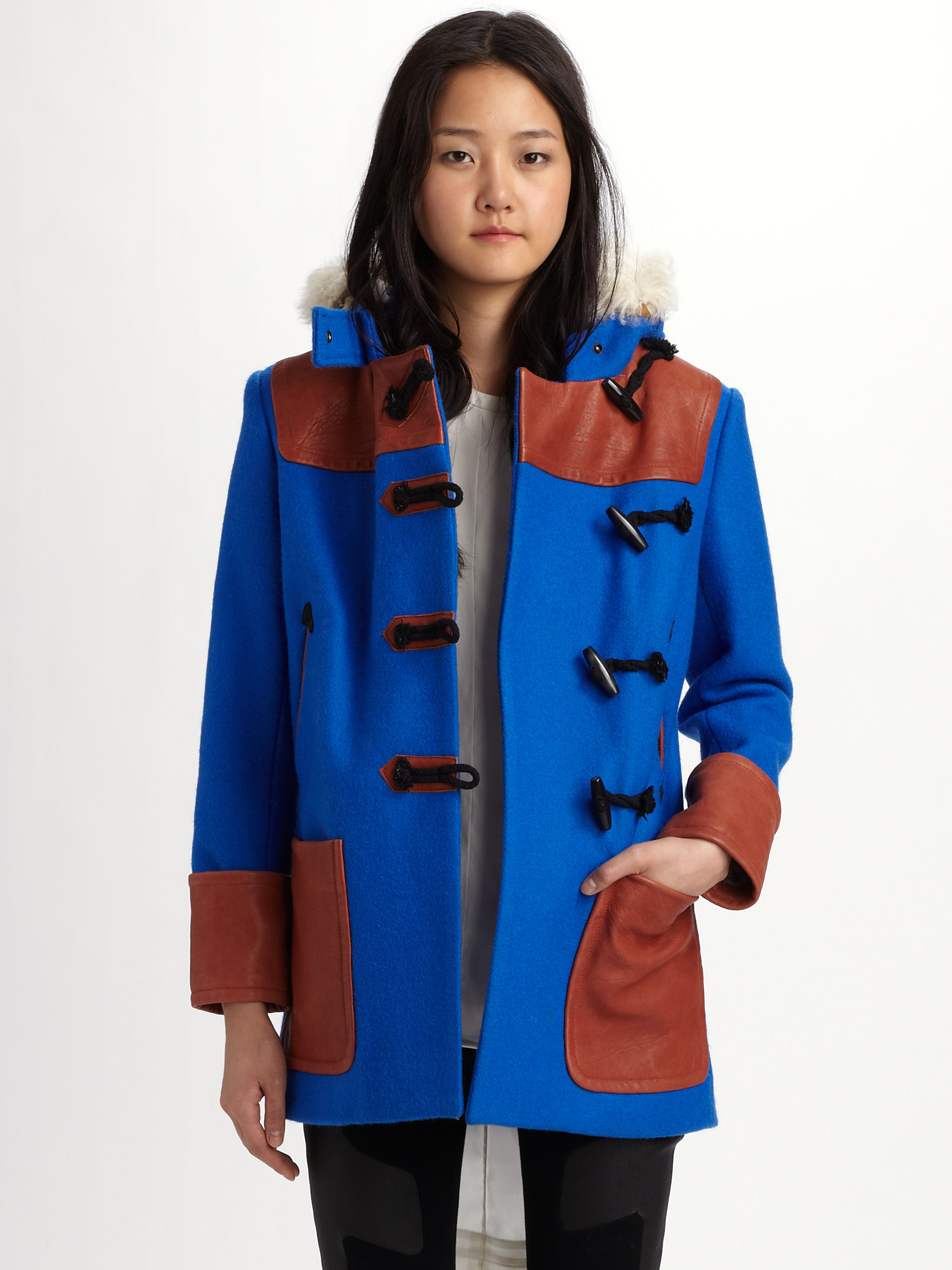 Rag & bone Duffle Coat in Blue | Lyst
