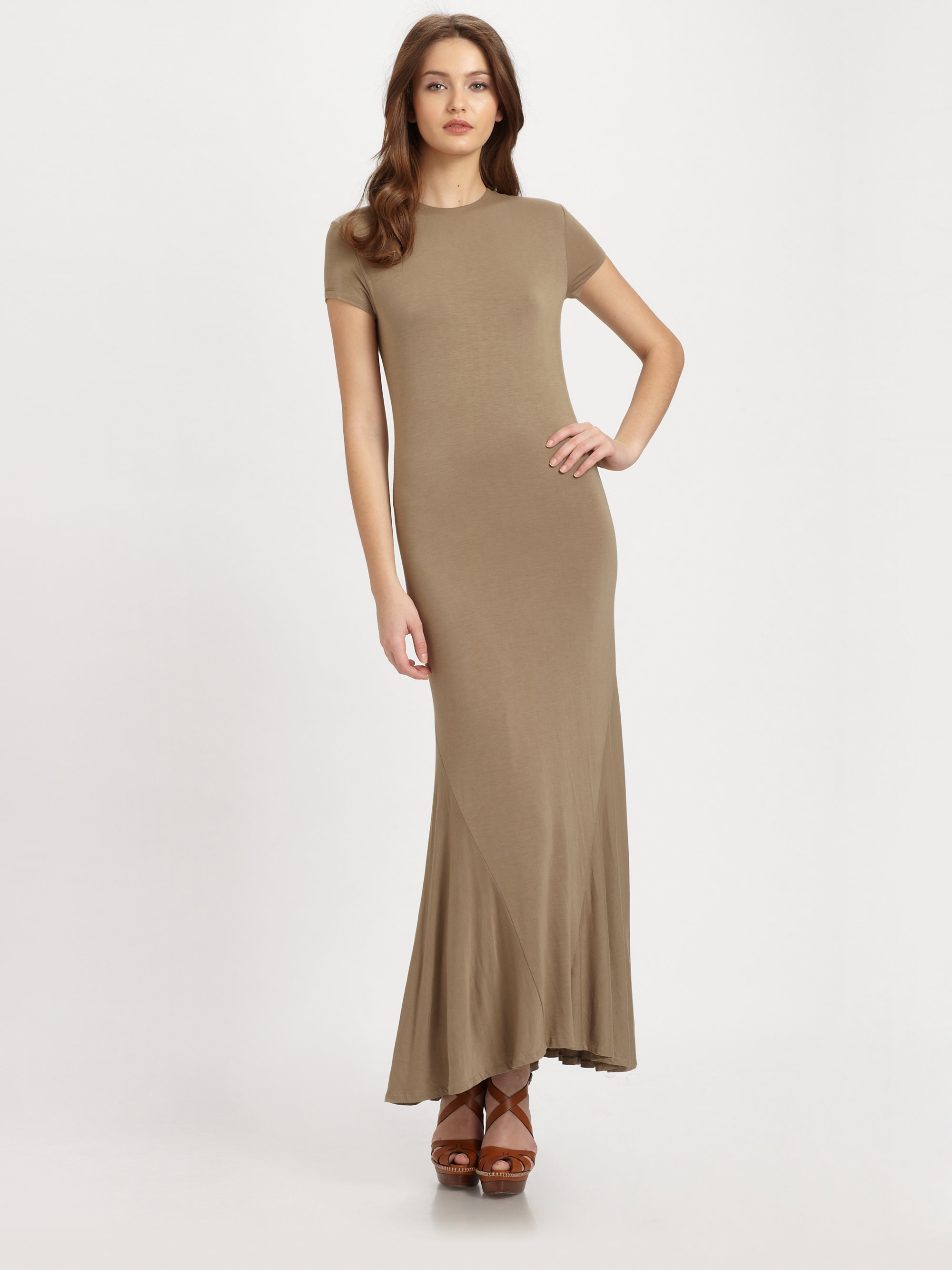 Ralph lauren blue label Jersey Knit Maxi Dress in Brown | Lyst