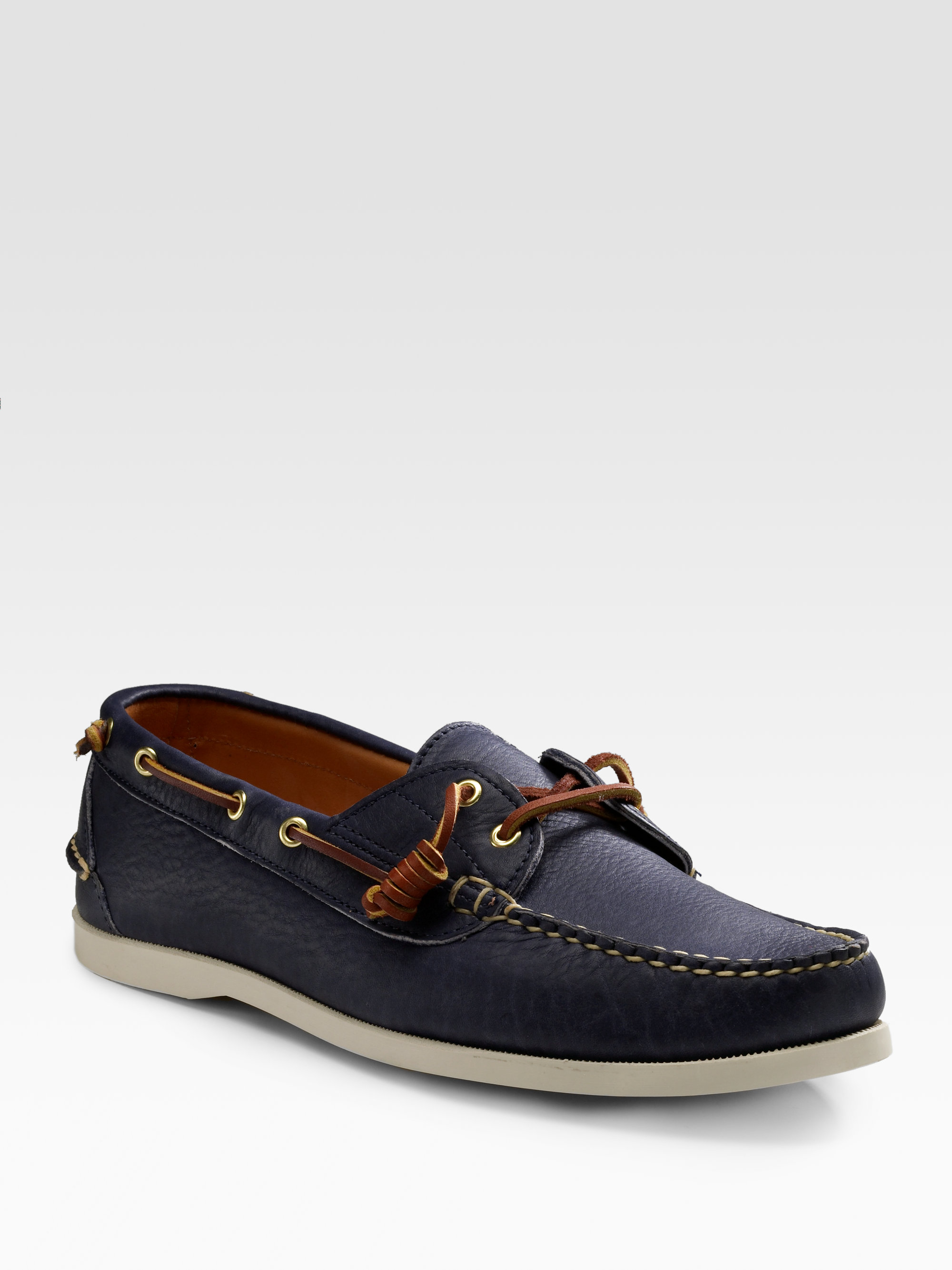 Ralph lauren Leather Boat Shoes in Blue for Men | Lyst