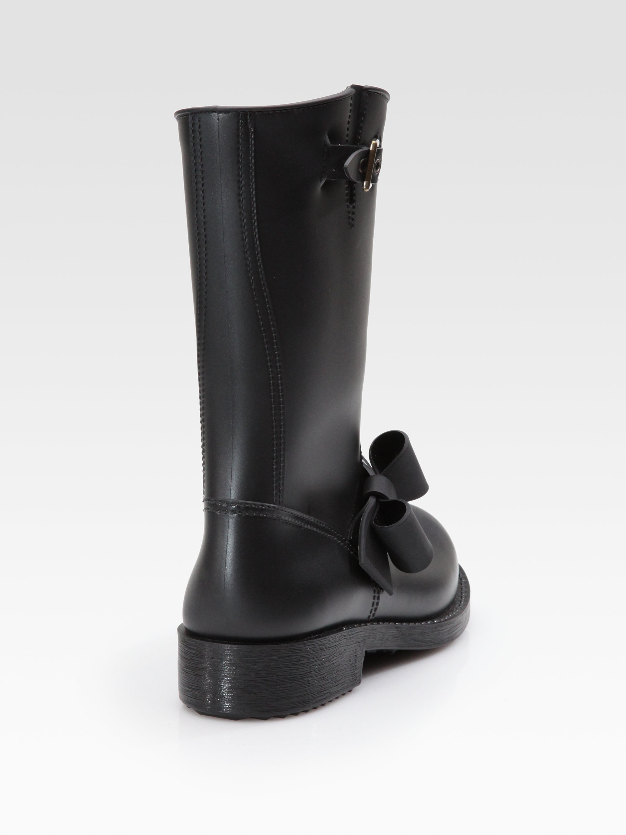 Red valentino Rubber Bow Rain Boots in Black | Lyst