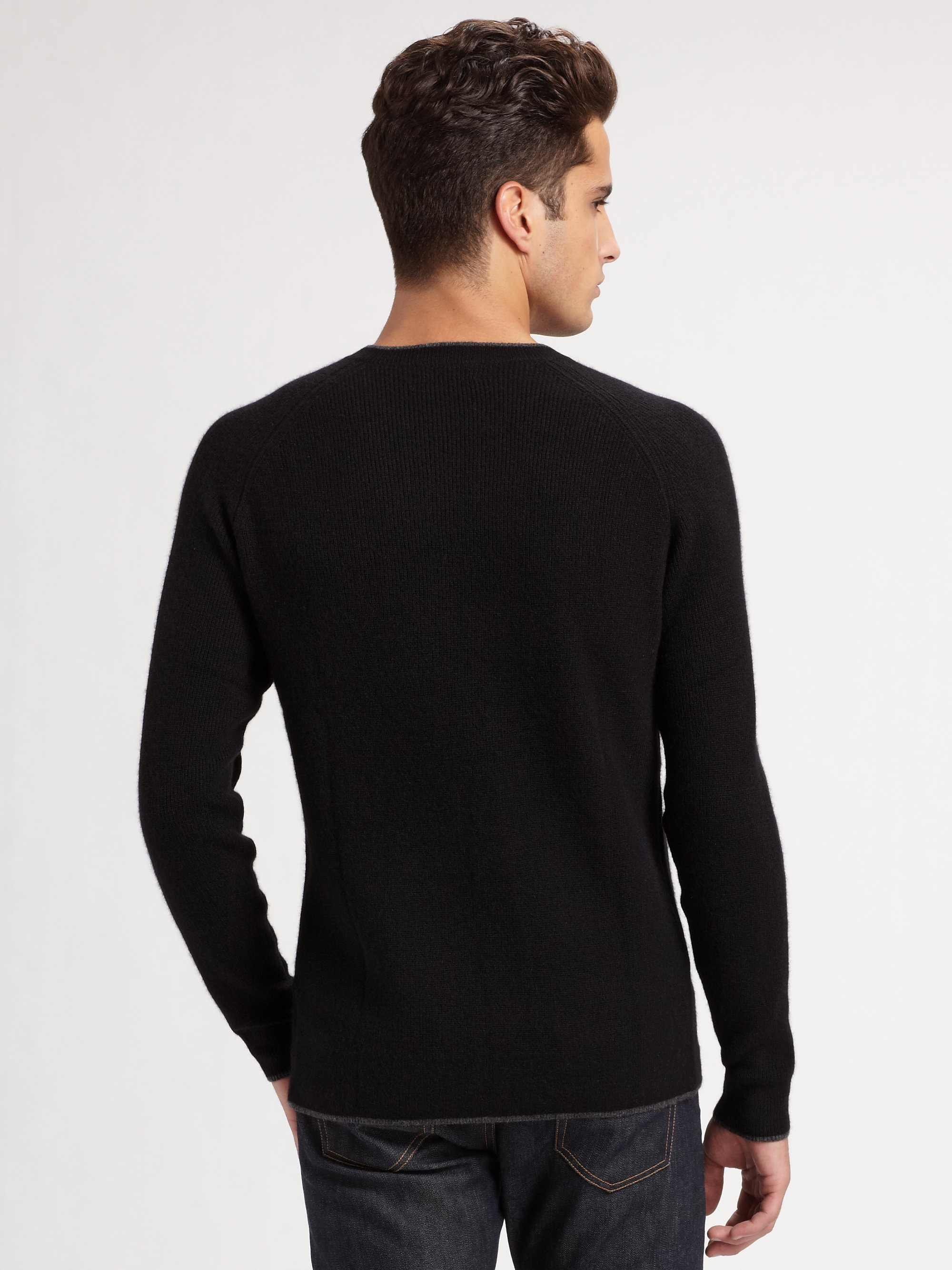 Saks fifth avenue Crewneck Cashmere Sweater in Black for Men | Lyst