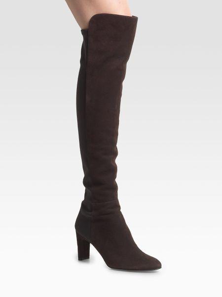 stuart weitzman overtheknee suede stretch boots in black