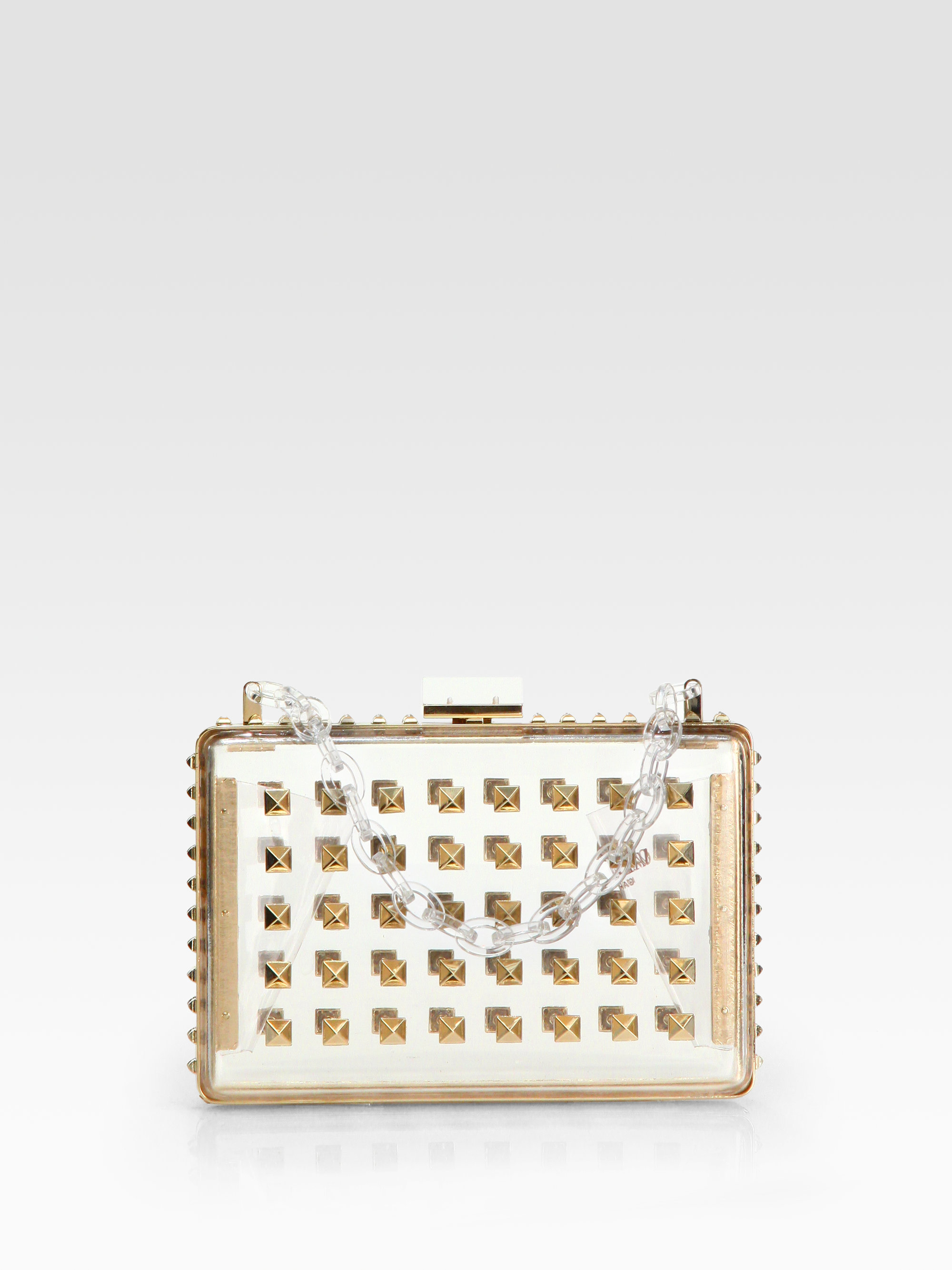 Valentino Secrets Studded Minaudiere with Chain, Black Metallic