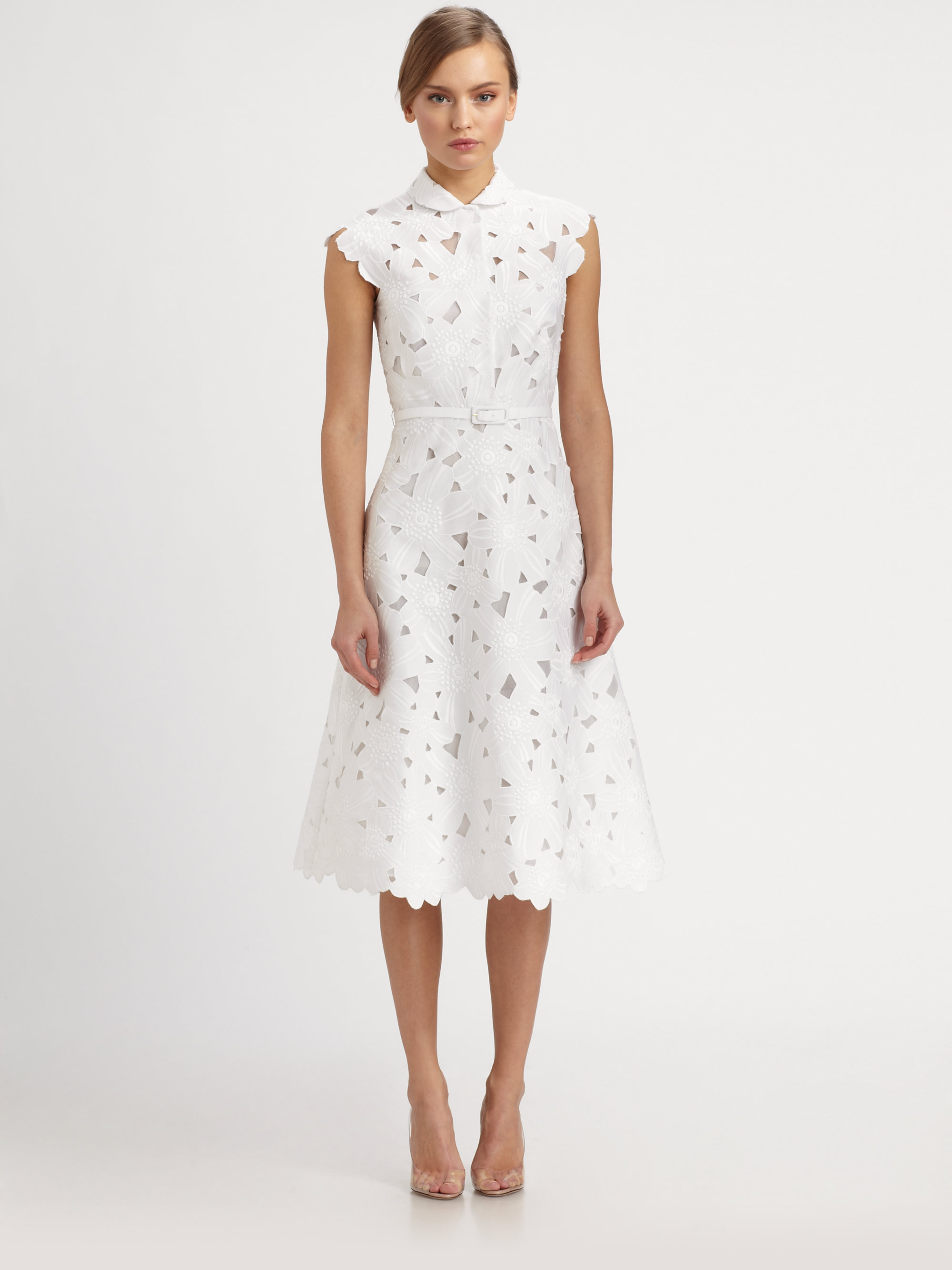 Valentino daisy piqueacute embroidered dress in white lyst