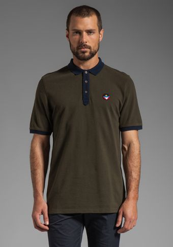 Vanishing Elephant Basic Pique Polo in Olive and Navy - Lyst