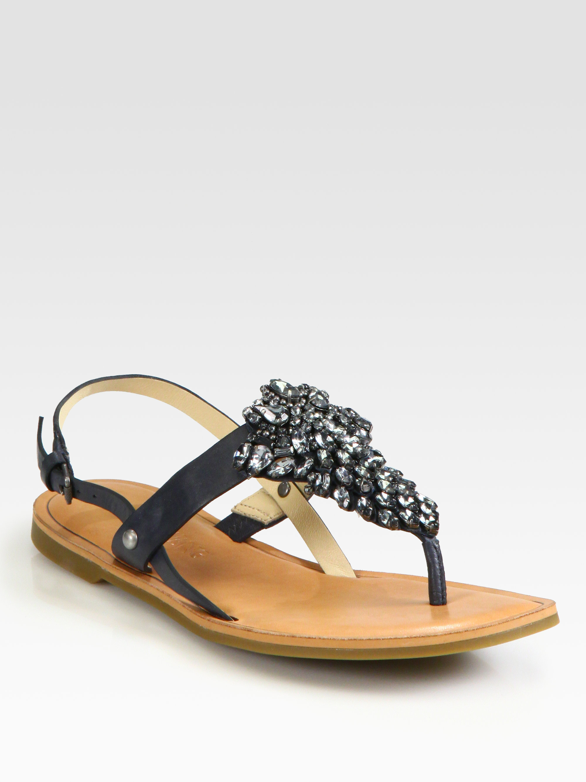 Vera Wang Lavender Avy Jeweled Leather Sandals In Navy