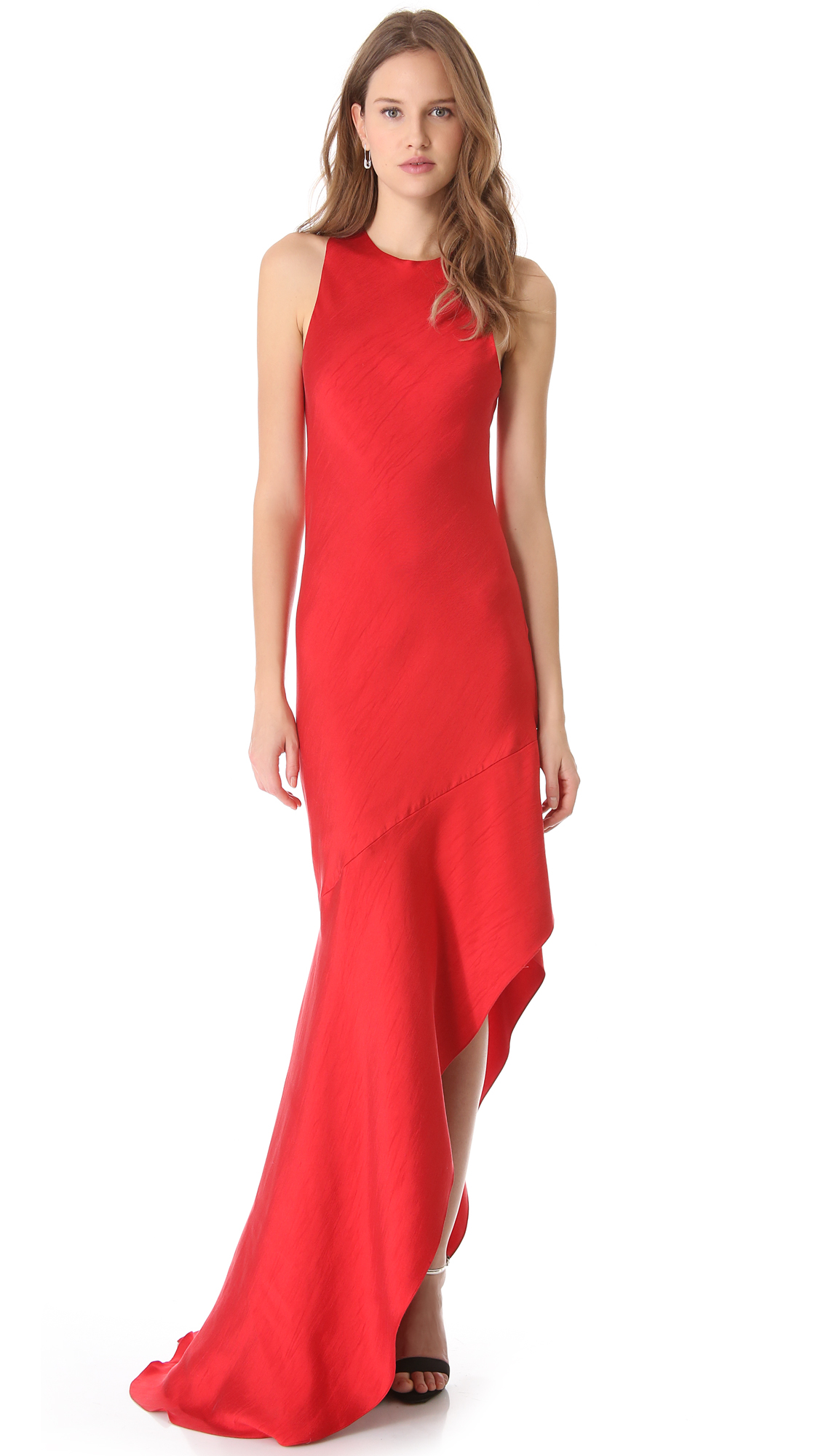 Wes Gordon Asymmetrical Bias Dress In Red Lyst