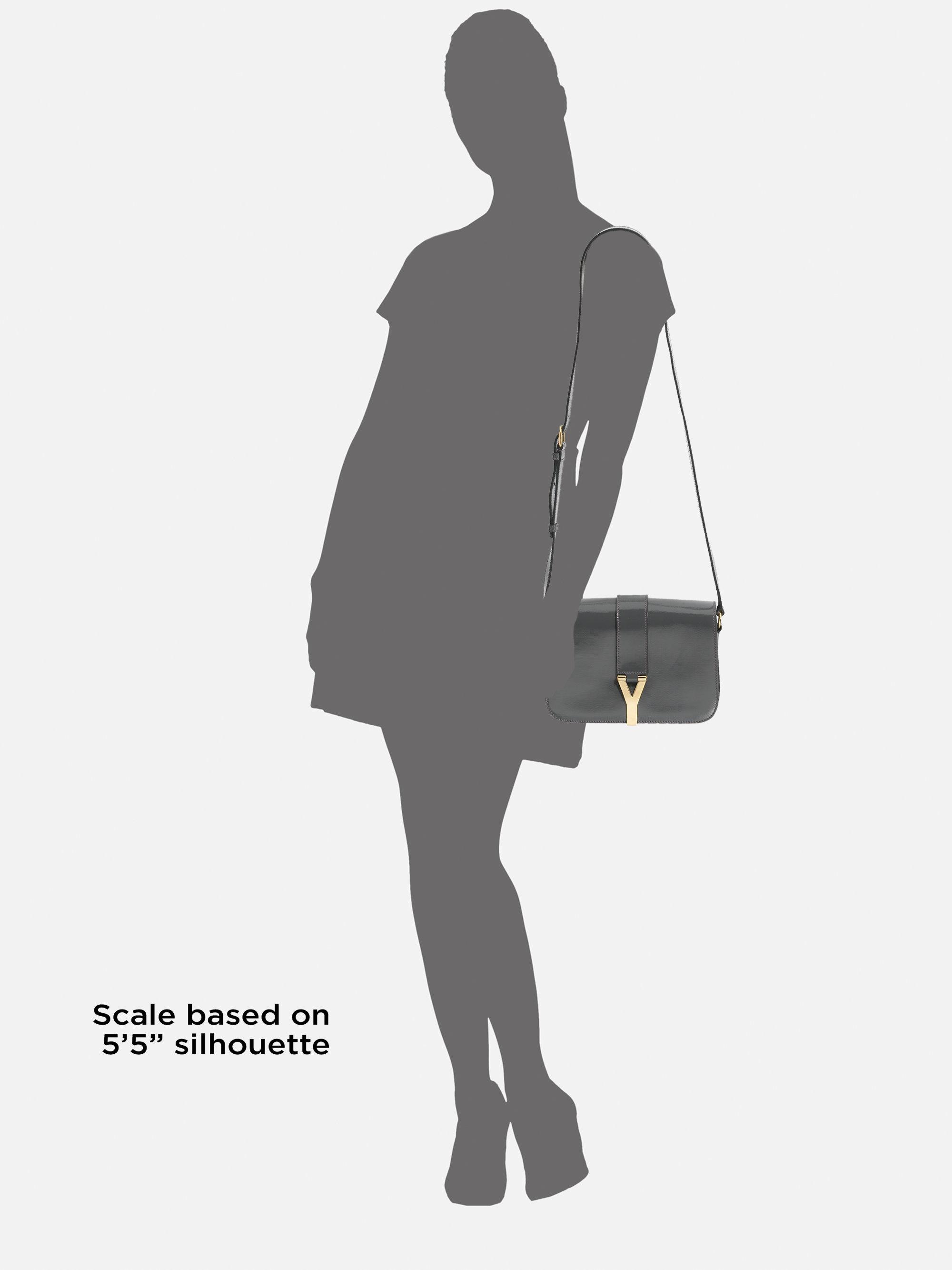 Saint laurent Ysl Chyc Medium Patent Leather Flap Bag in Gray ...