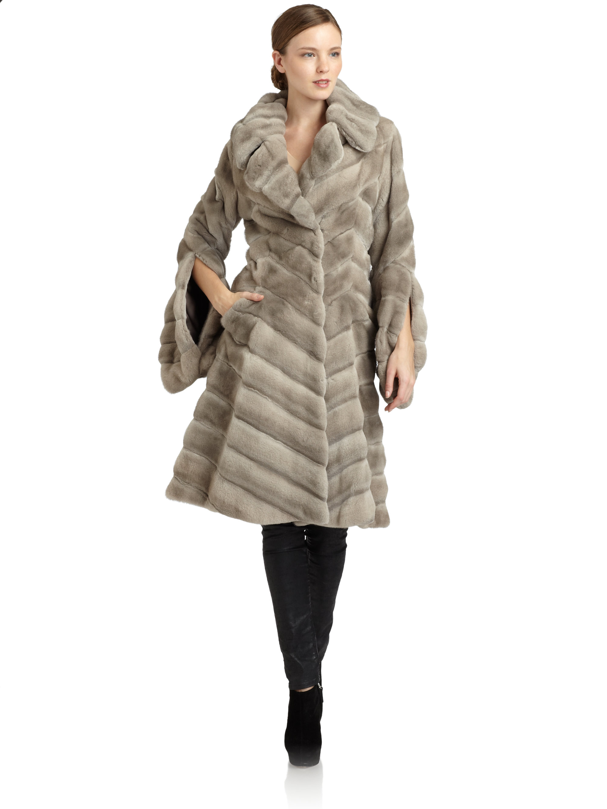 Zac posen Mink Coat in Gray | Lyst