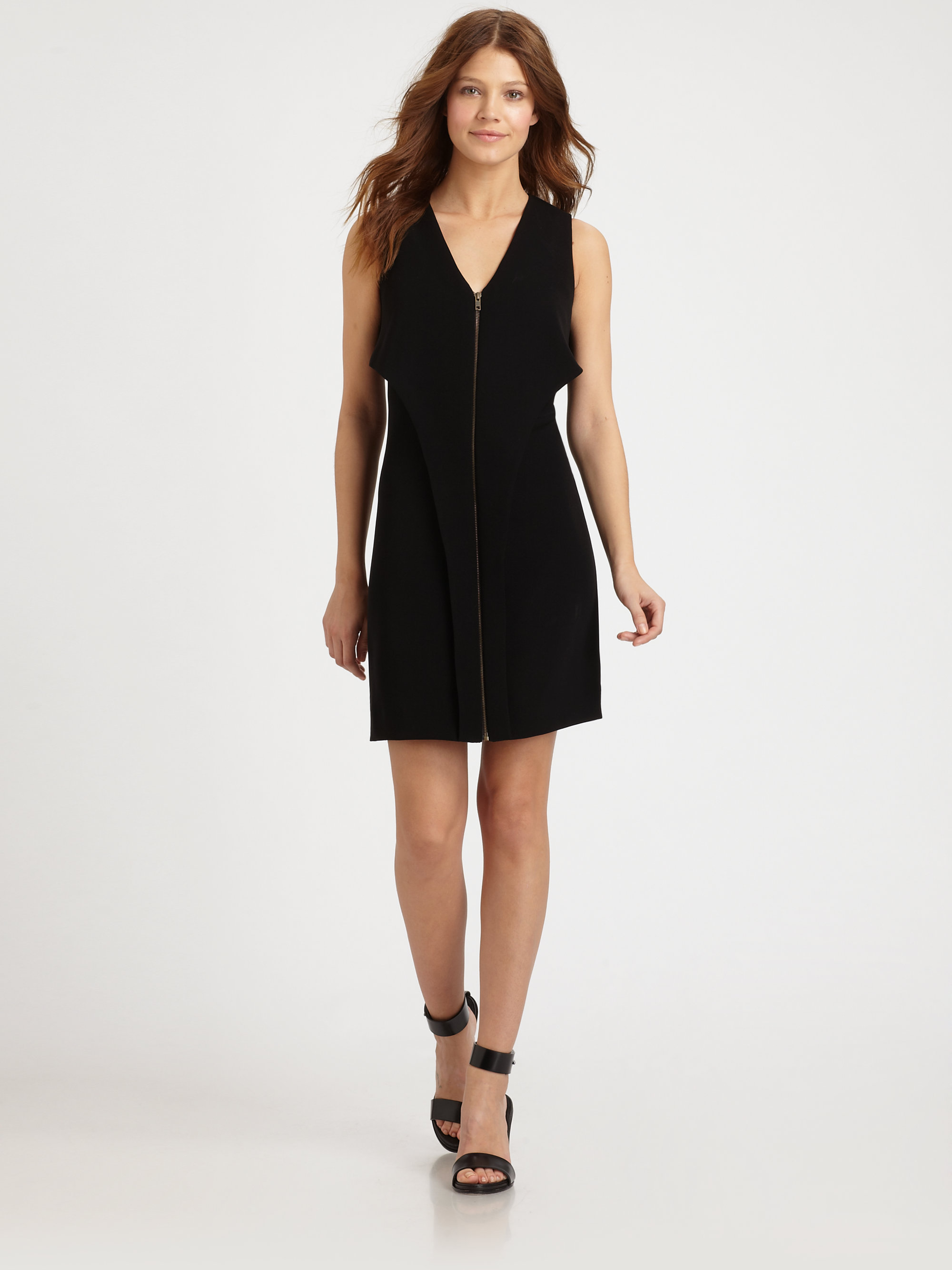 10 crosby derek lam front zip panel dress in black lyst for Derek lam 10 crosby shirt dress