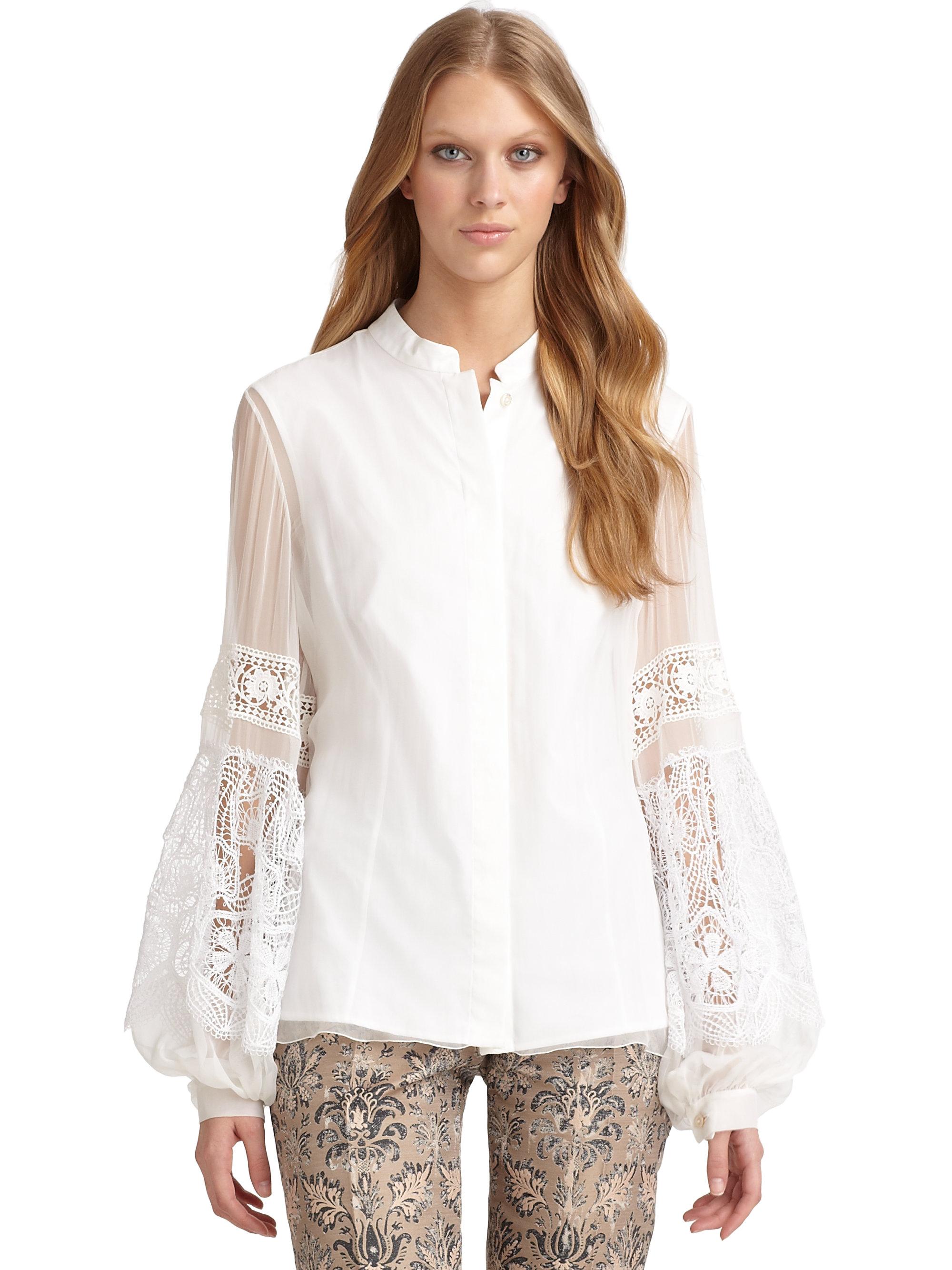 604ca983eb17d Lyst - Alberta Ferretti Silk Lace Blouse in White
