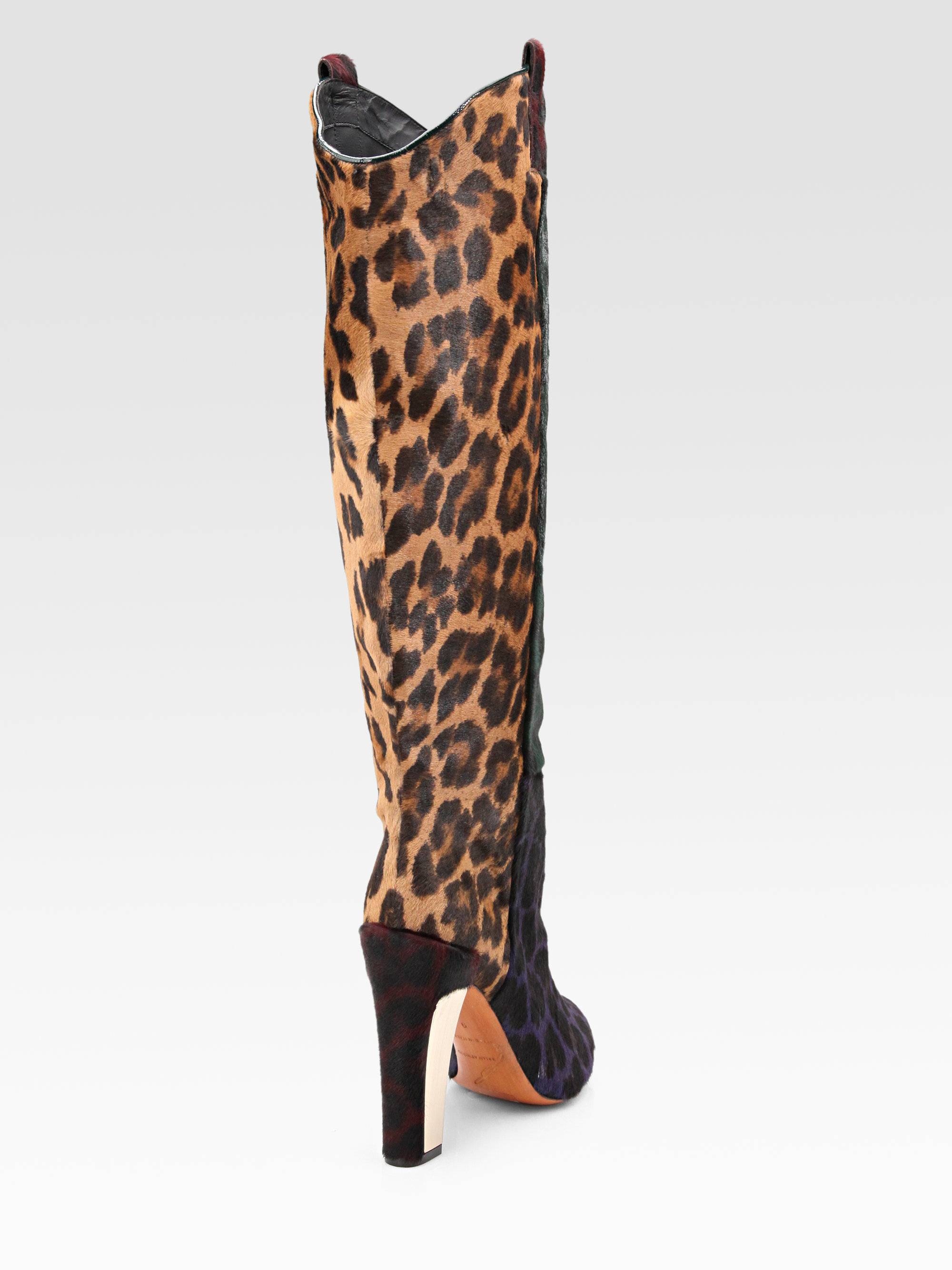 b brian atwood paradis leopard print calf hair knee high