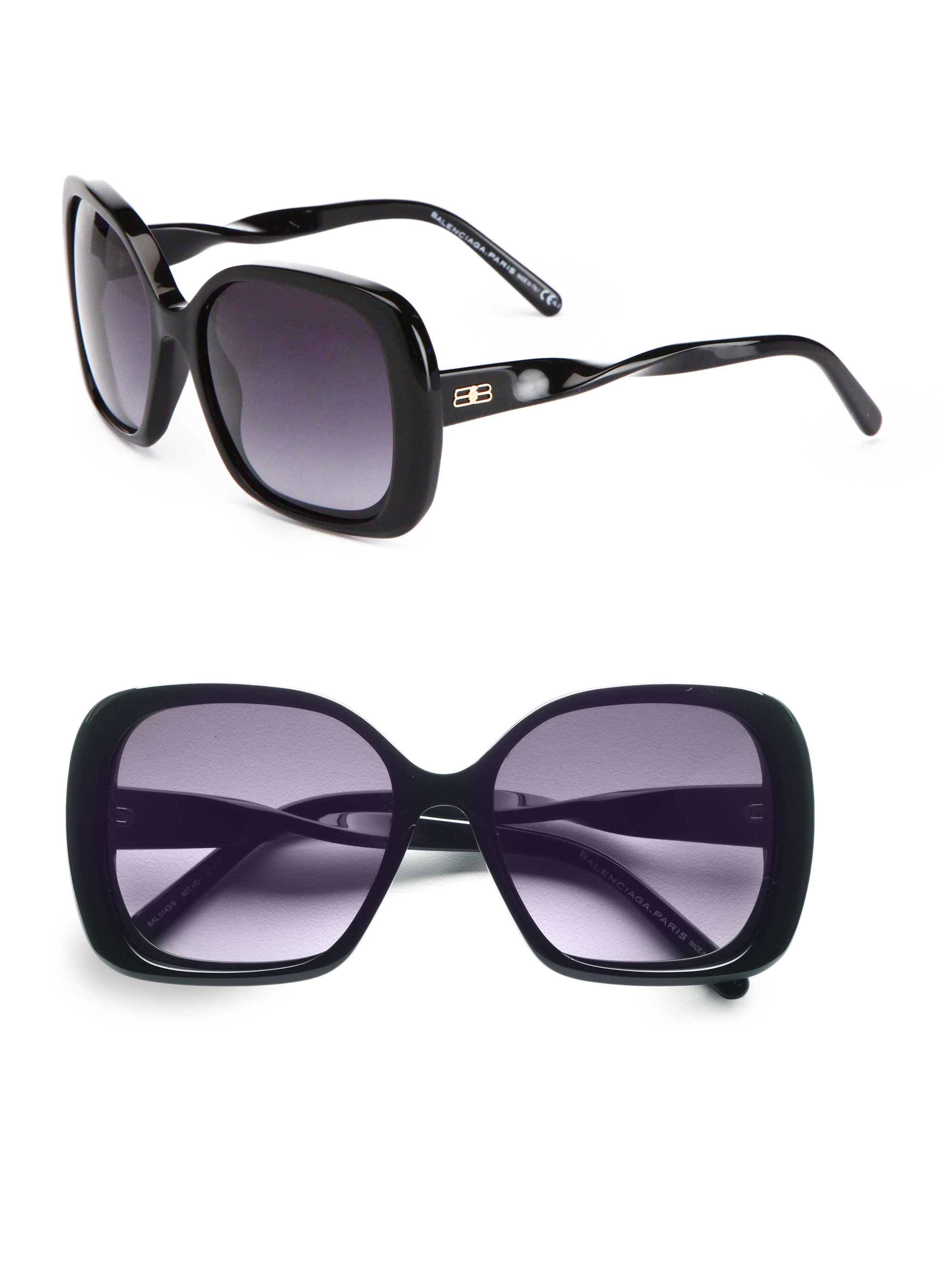 d93b310aa34c Balenciaga Square Twisted Temple Sunglasses in Black - Lyst