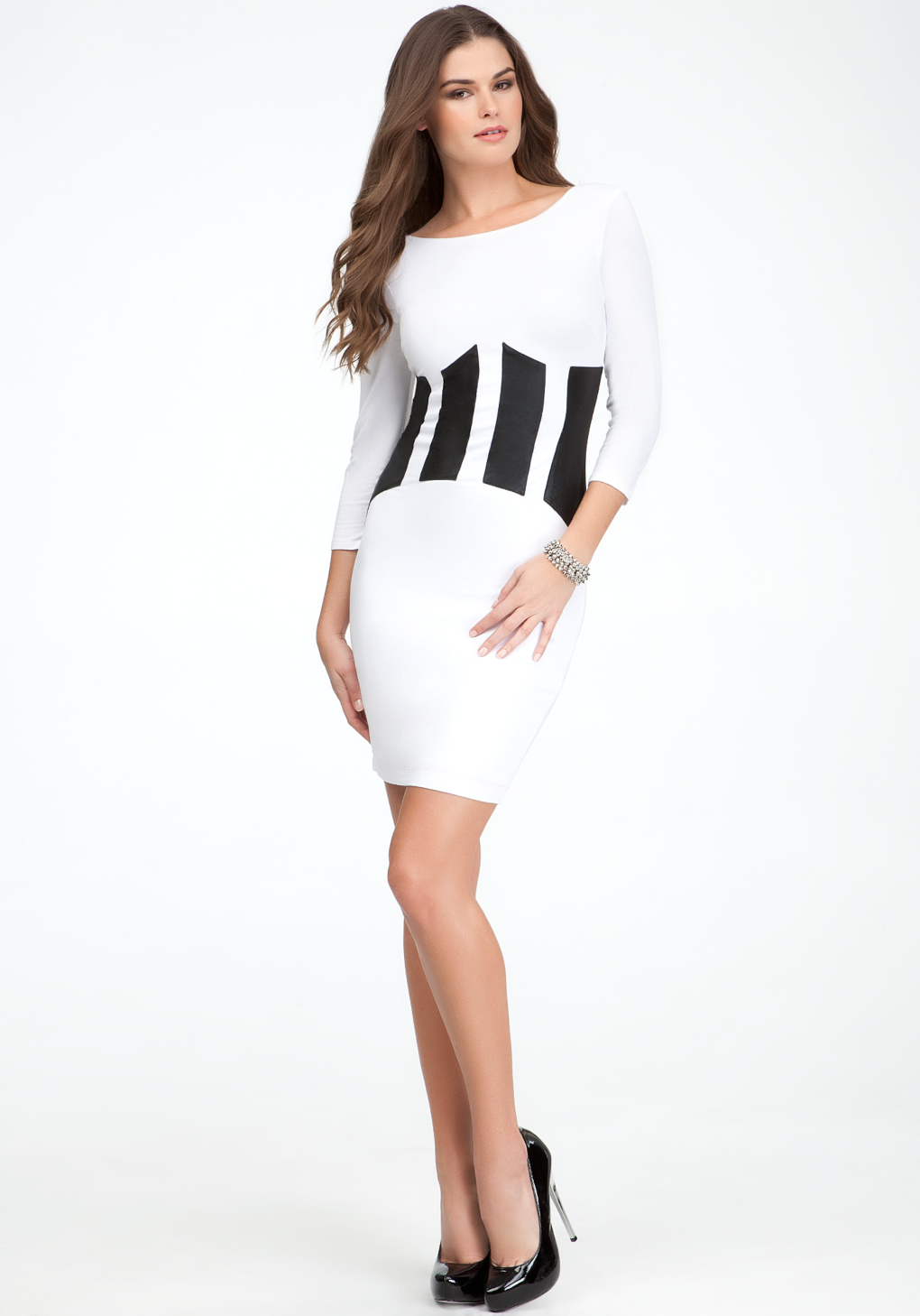 Lyst Bebe Coated Patchwork Jersey Dress In White