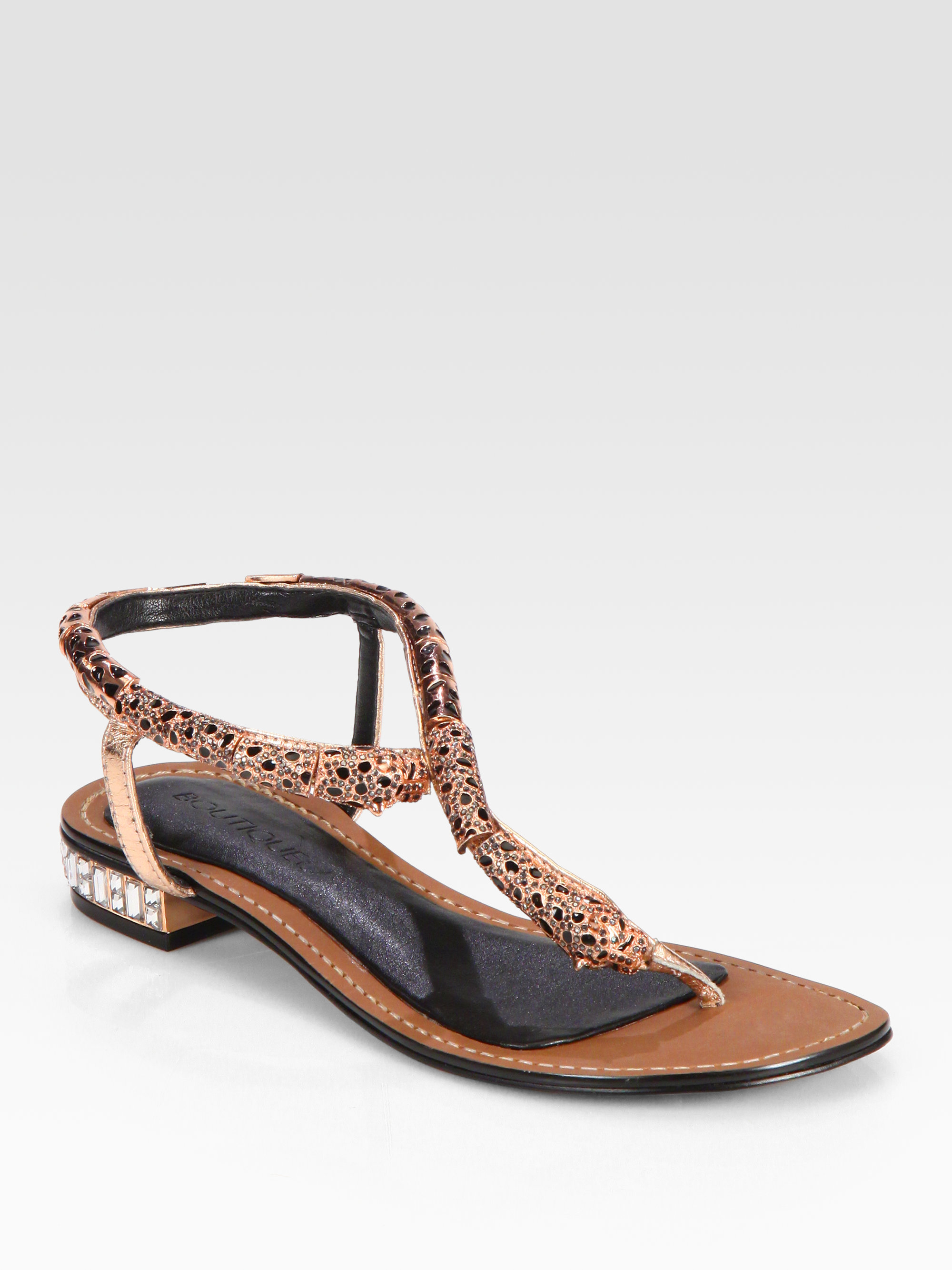 Lyst Boutique 9 Rhinestone Panther Sandals In Brown